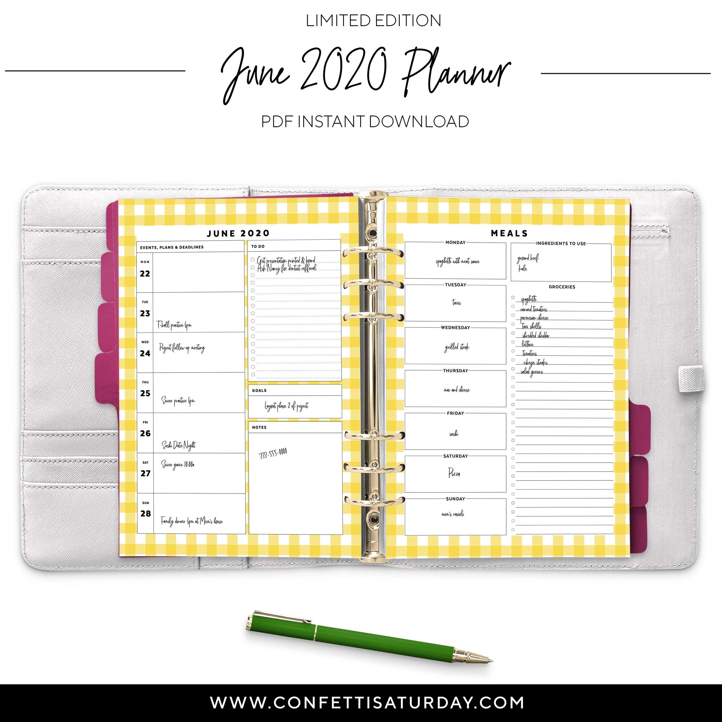Printable June Planner Insert