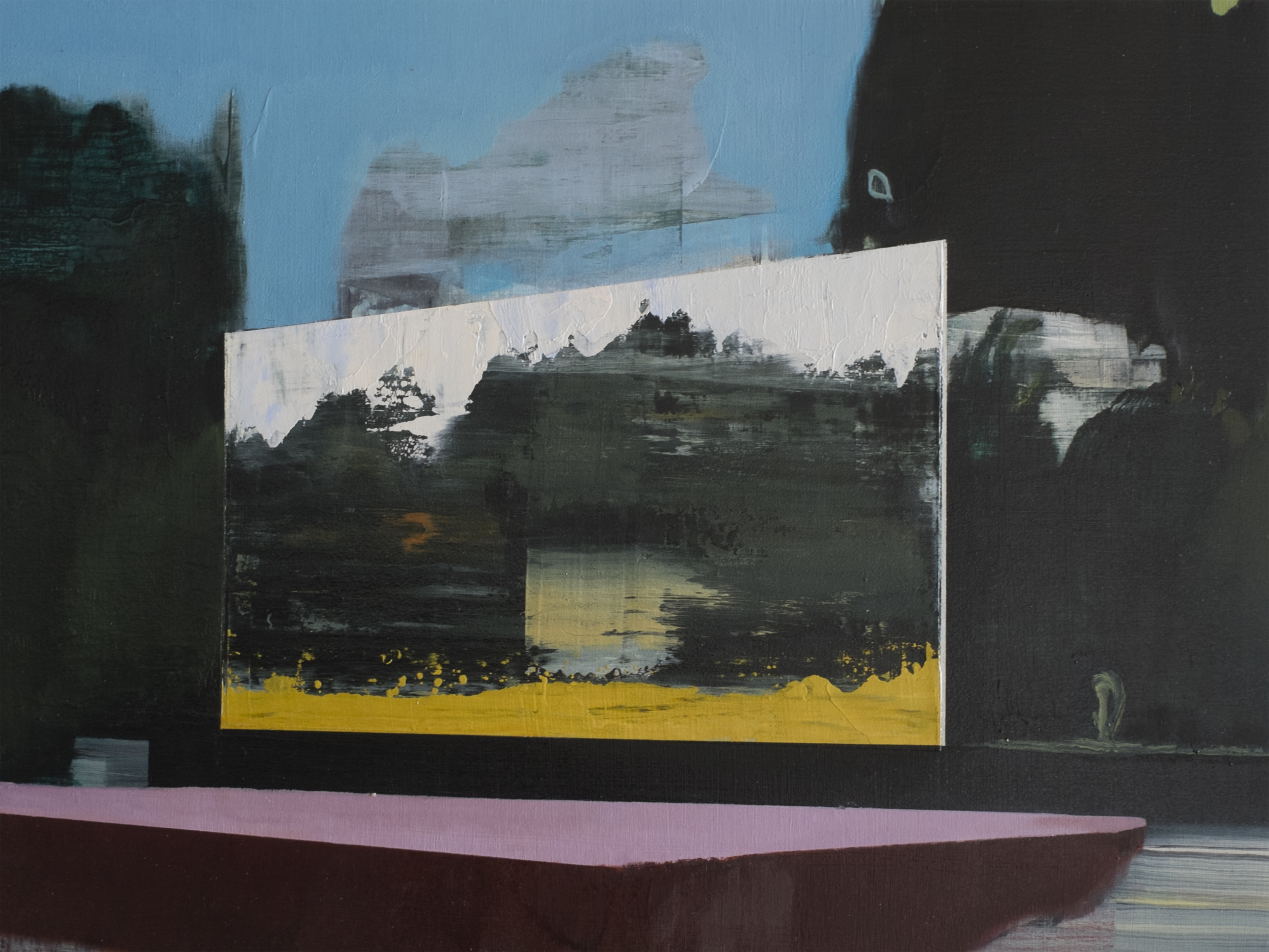 Landscape #5 风景 5, 2014 Oil on wood board 木板上油画 12 x 16 in.
