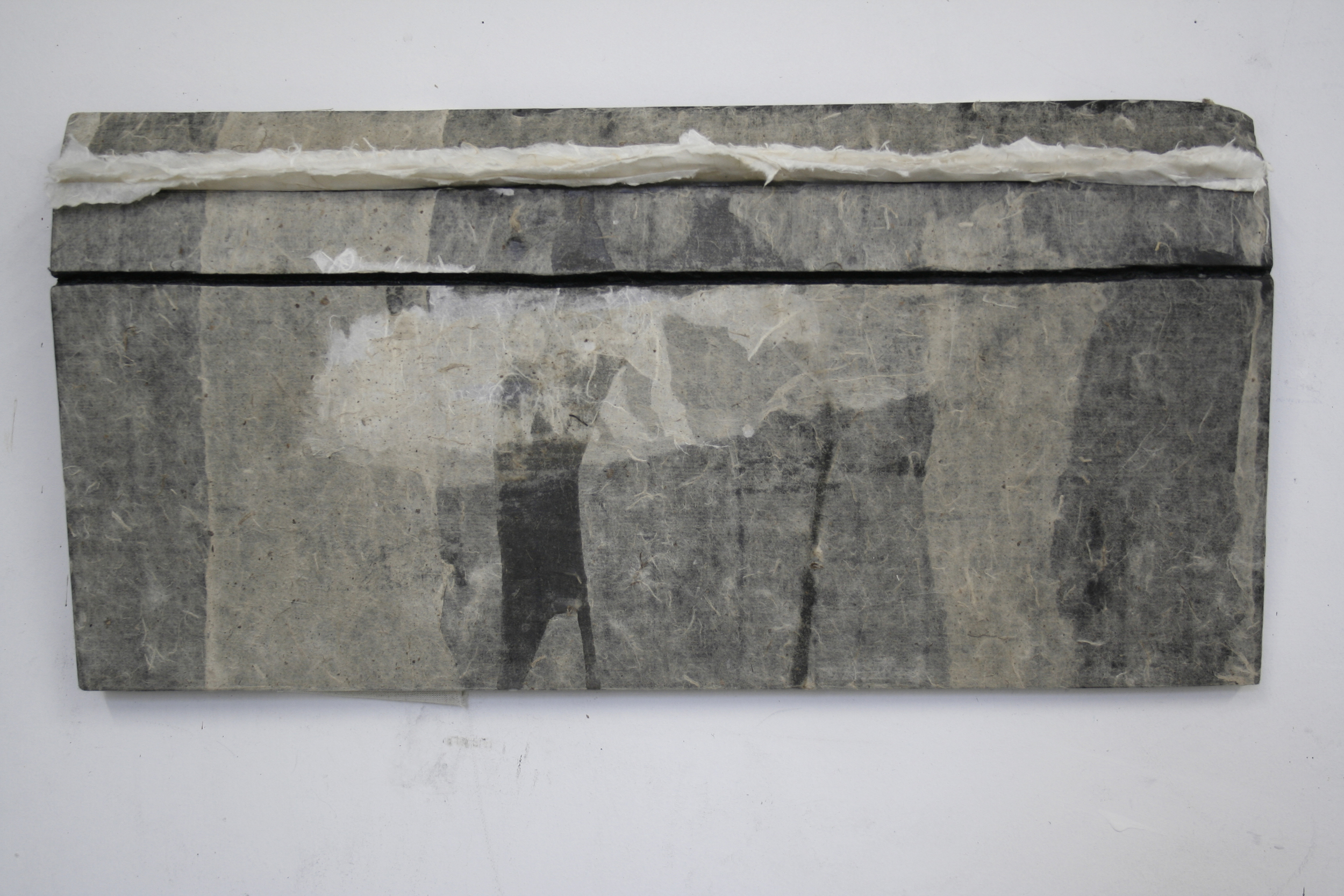 My Street 我的街道, 2013 Ink, wax and Xuan paper 墨、蜡和宣纸 10 x 22 x 2 in