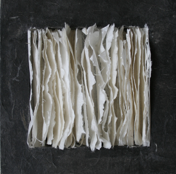 Drizzling 小雨, 2012 Ink and Xuan paper on wood panel 木板上墨和宣纸 8 x 8 x 1.5 in.