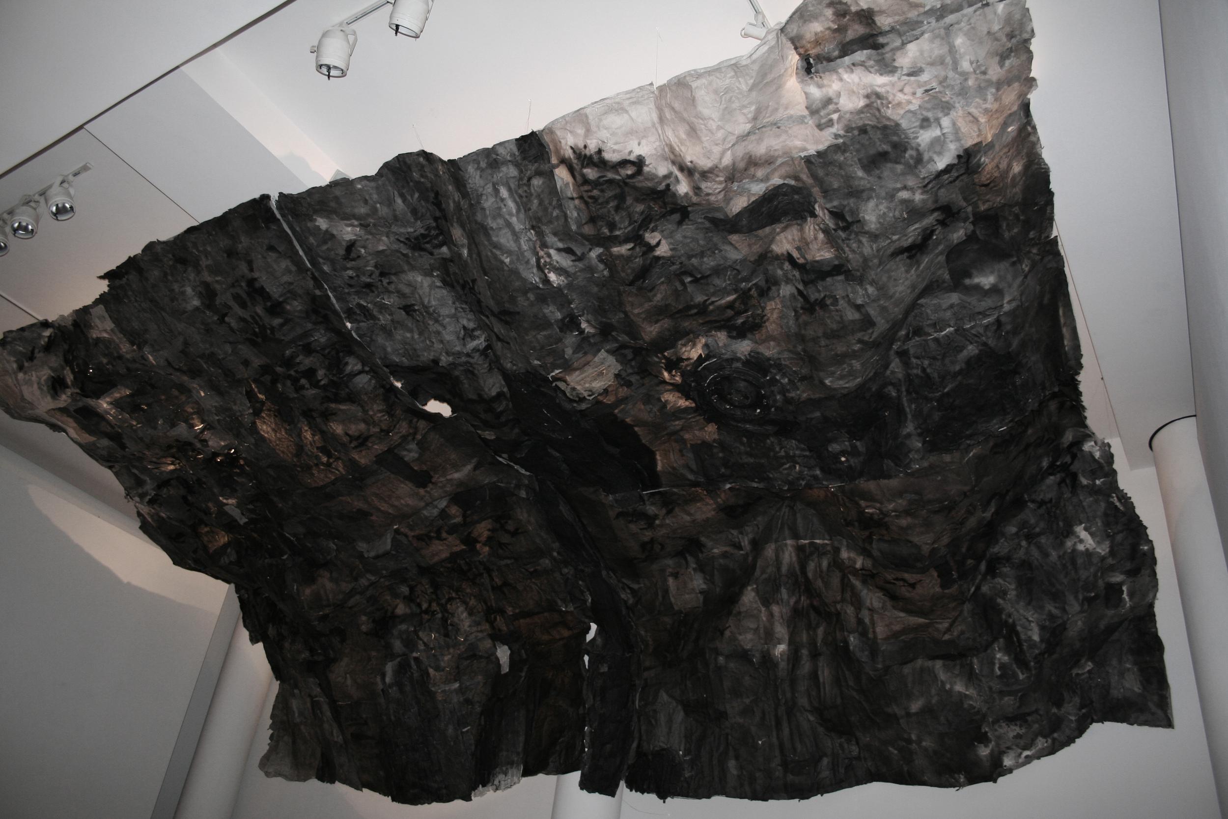 Inhale 吸, 2014 Ink and Xuan paper installation 水墨宣纸装置 30 x 13 x 6 ft.