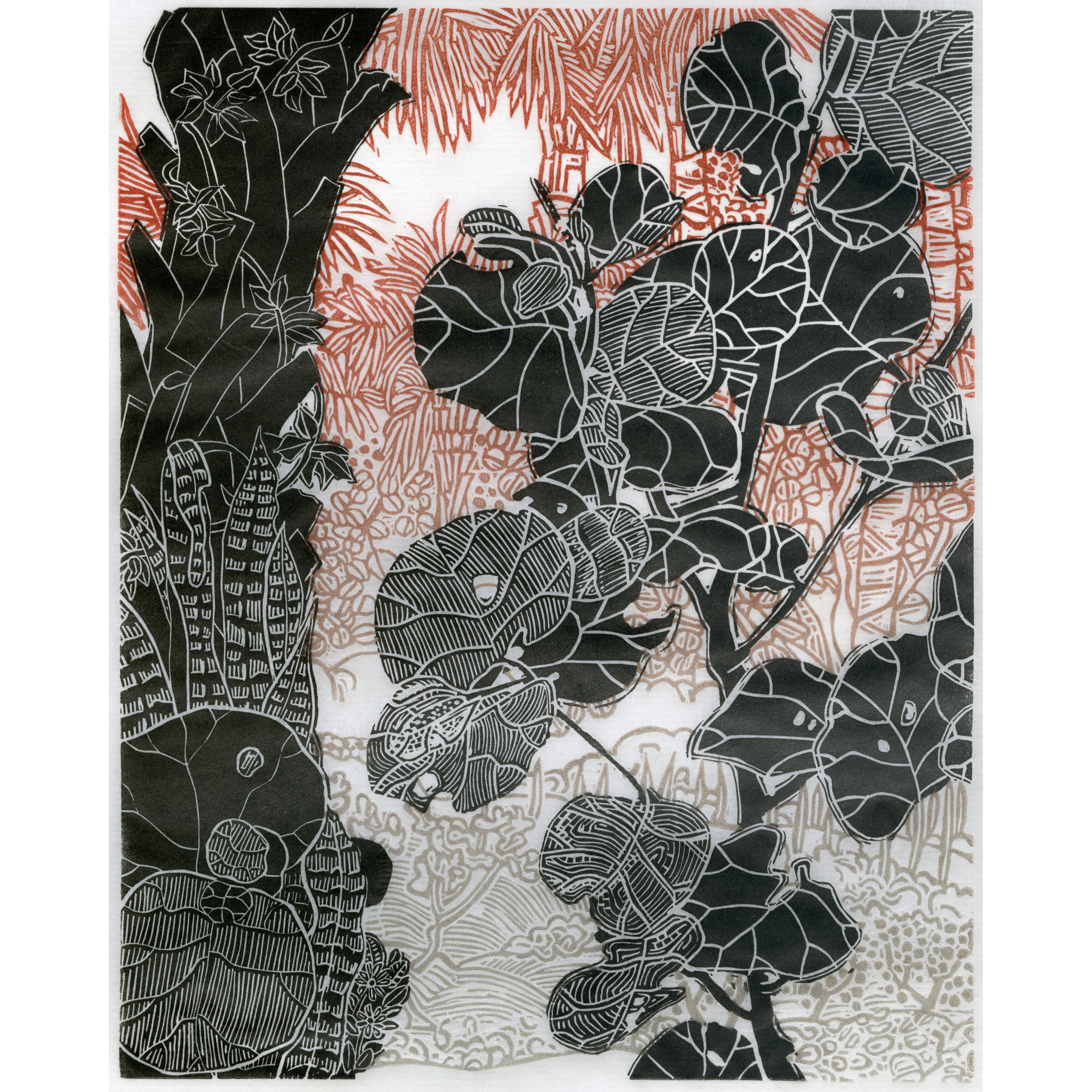 Sea Grape Branch 马尾藻枝,2014 2 block linocut with subtle blend rolls on each block printed on handmade Japanese Misu paper 日本手工纸上浮雕木版画 25.3 x 15.5 in. (64.3 x 39.4 cm) Edition 1 of 10