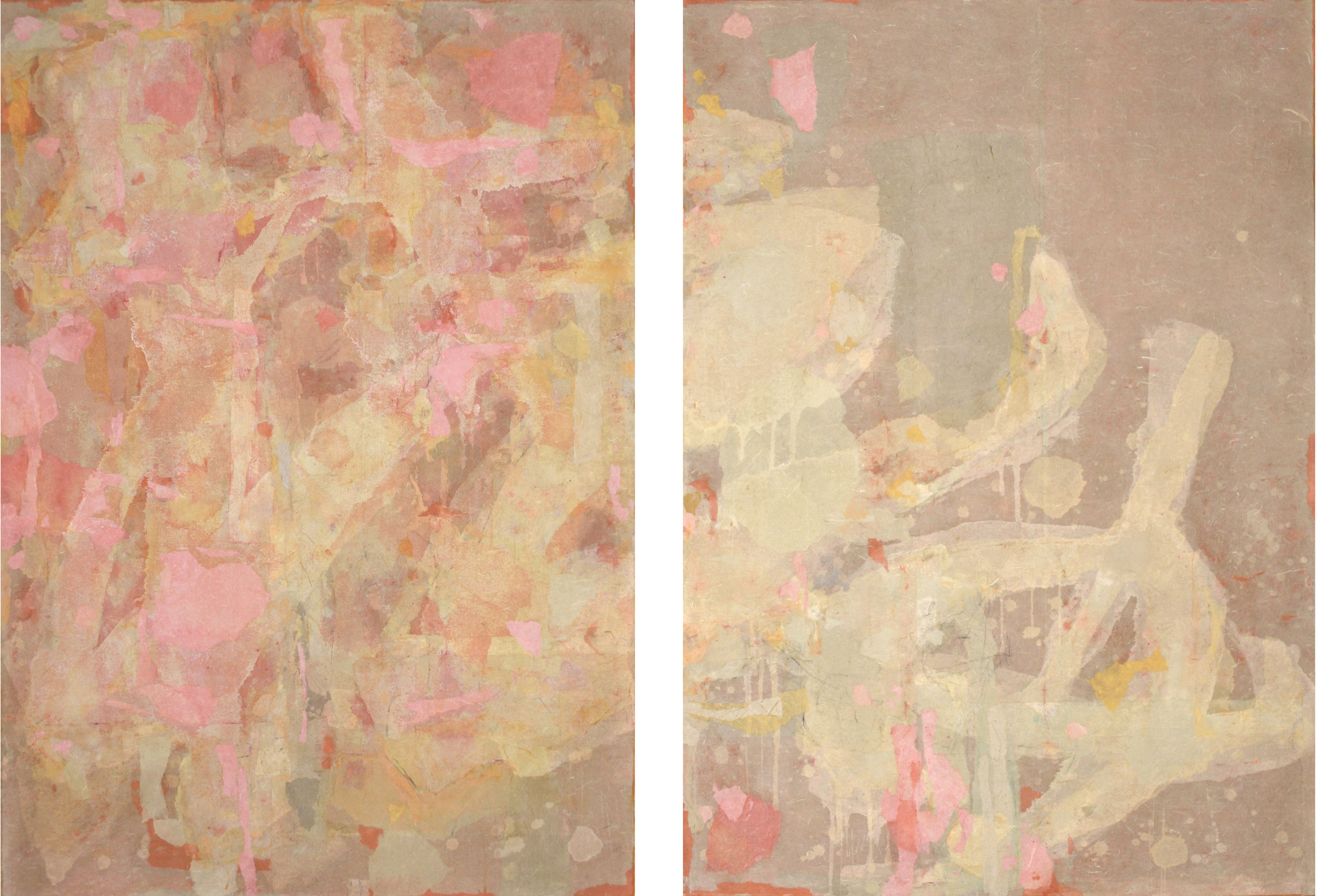 No.13144, 2013, Gouache, charcoal, pastel and Xuan paper collage on canvas, 布上水粉,炭笔,色粉笔与宣纸拼贴 Two panels, each 68 x 48 in.; 136 x 96 in., overall (两幅,每幅172 x 122 cm; 总共 345 x 243 cm)