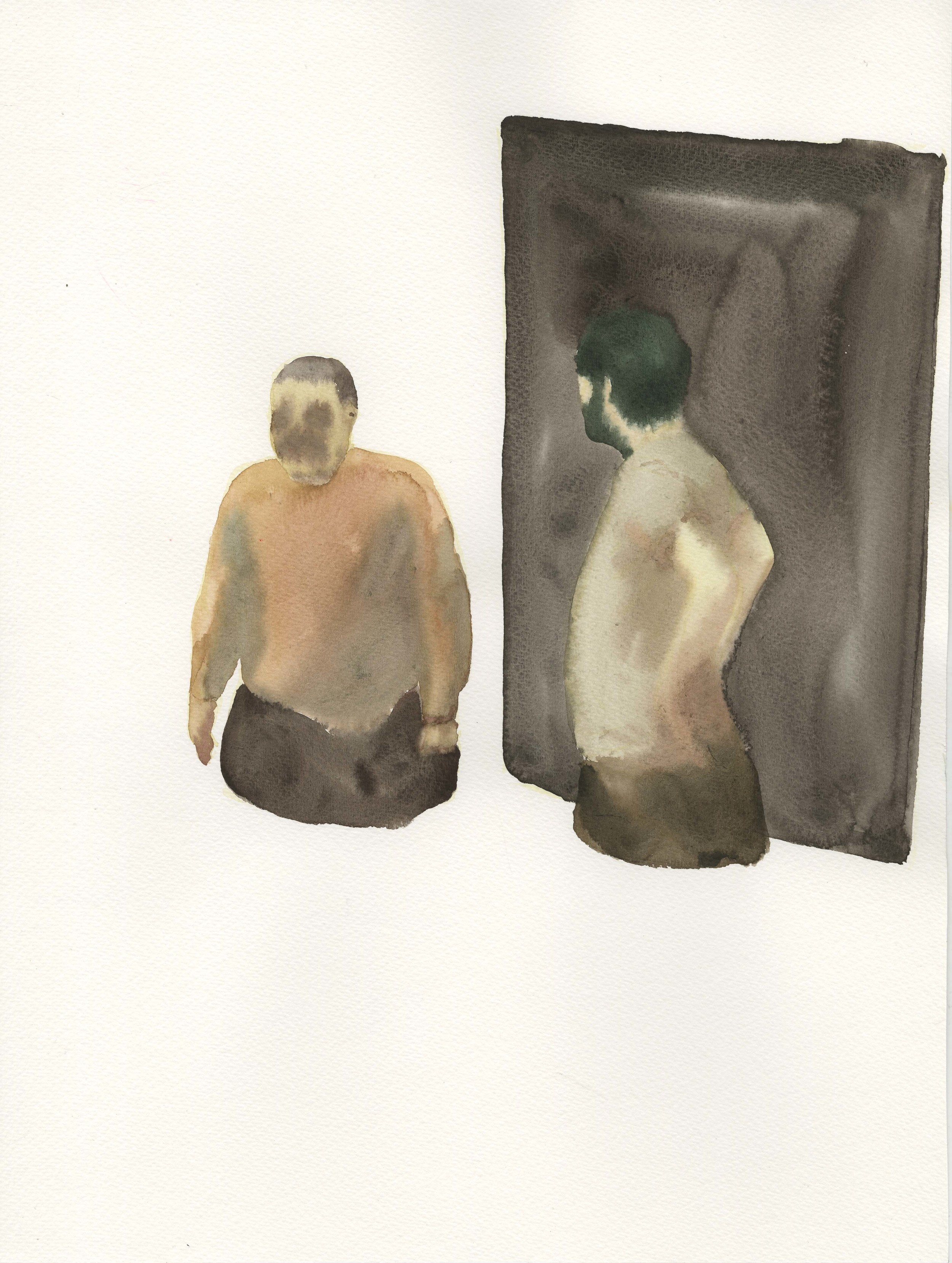 """""""One Just Stand There Staring Blankly, When Another Just Pass By…"""", 2014, Watercolor on Paper纸上水彩 16.1 x 12 in. (40.6 x 30.5 cm)"""