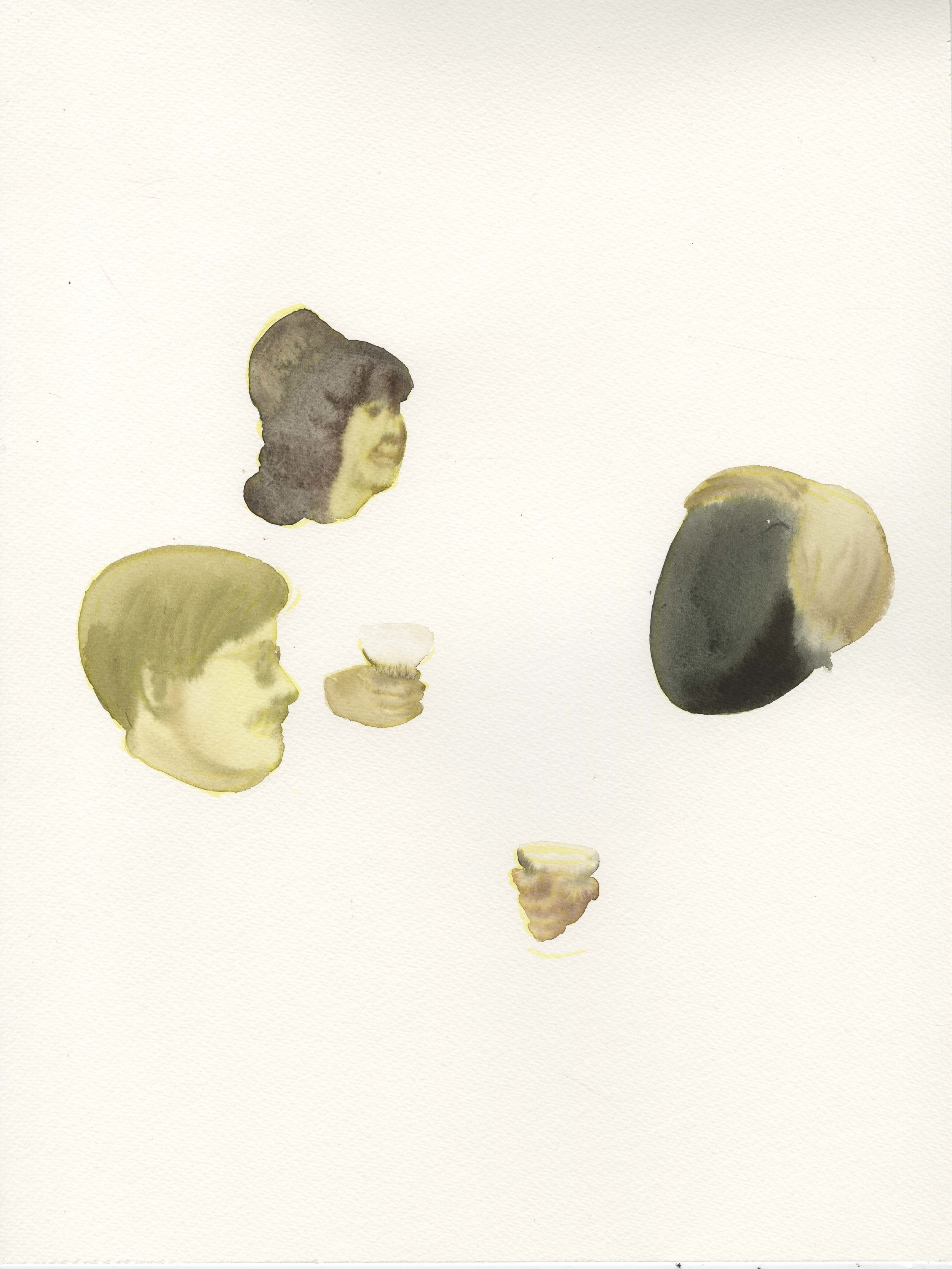 "Dark Heart of the America"", 2014, Watercolor on Paper 纸上⽔水彩 16.1 x 12 in."