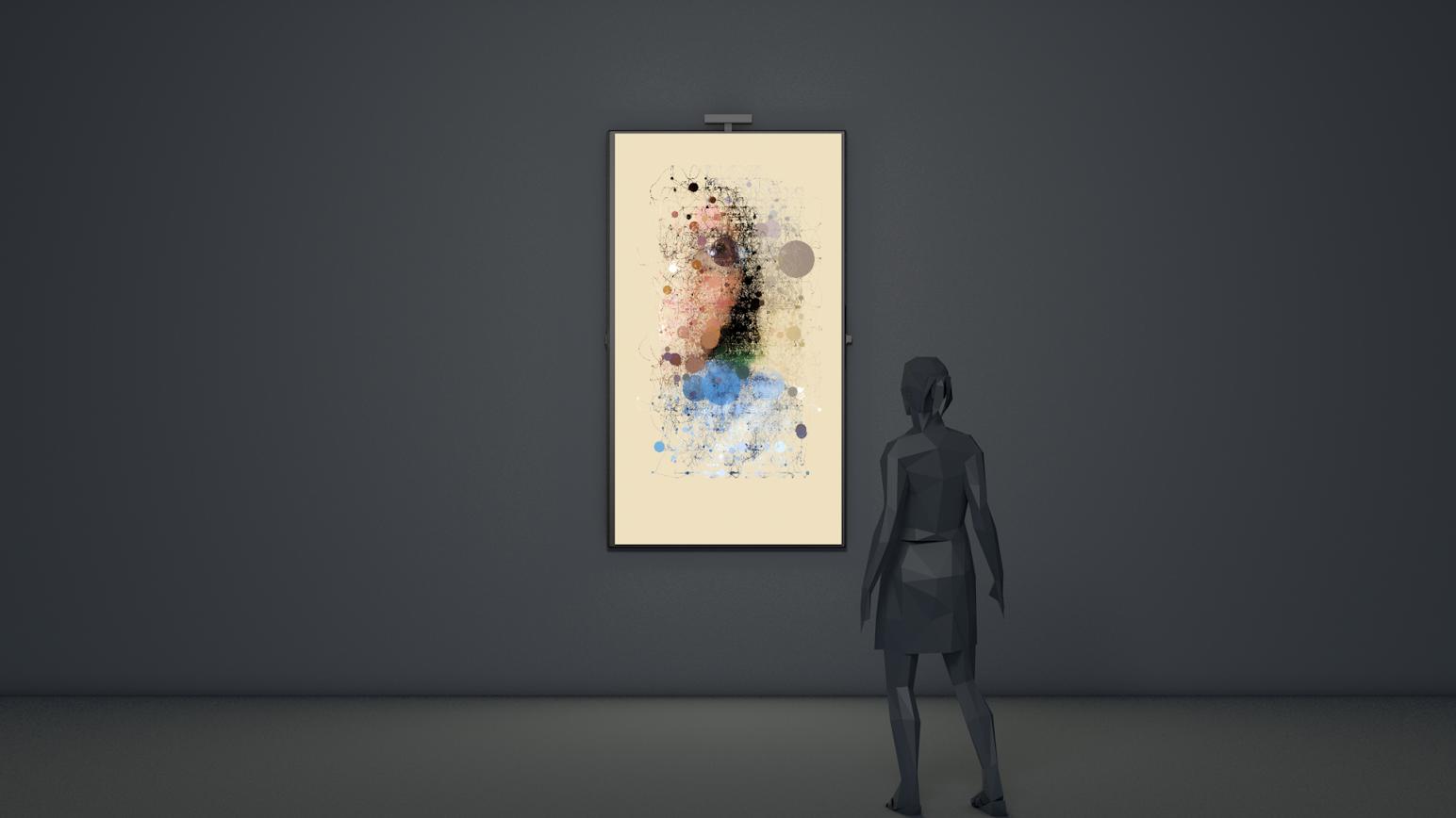Random Walker - Dripping  , interactive video installation, 38.7 x 22.3 x 2.3 in., 2016