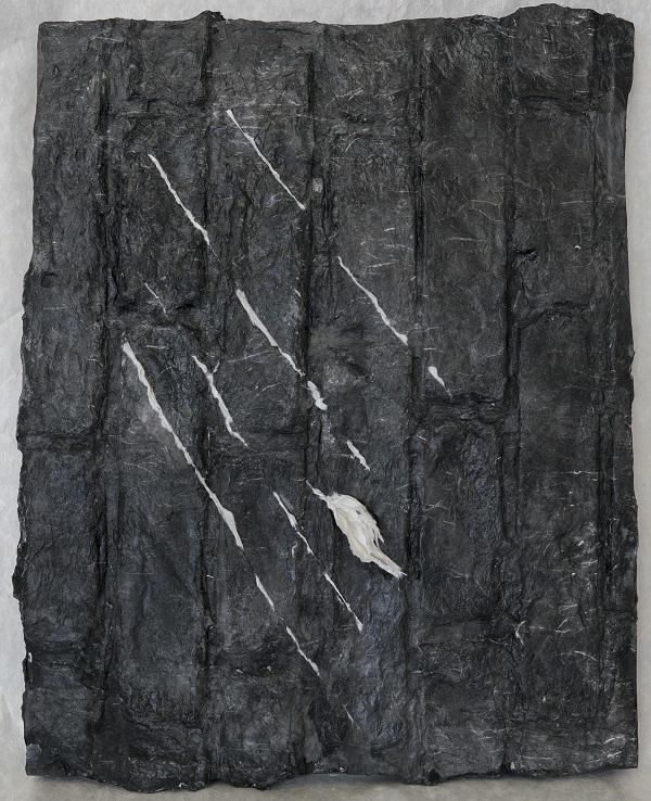 Lin Yan,  细雨 #3 Drizzling #3, 2016. Xuan paper on wood board, 8 x 16 x 1.5 in.(20.5 x 41 x 4 cm) © 2017 Lin Yan, courtesy Fou Gallery