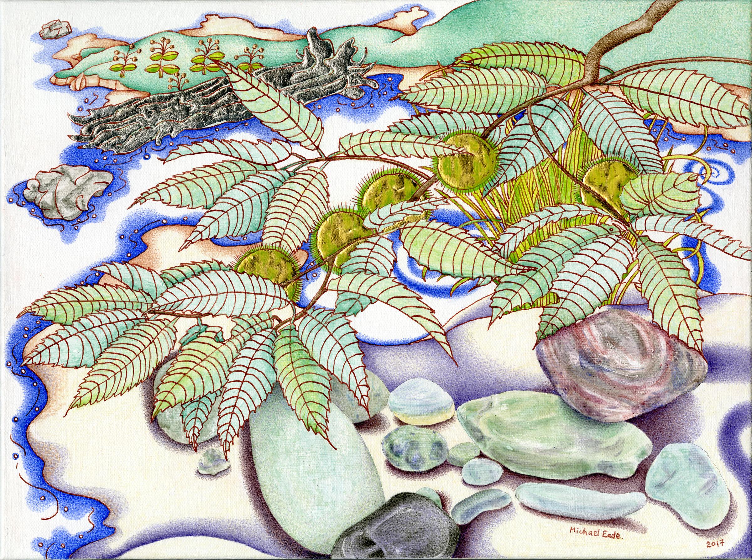 Michael Eade.  Gilded Chestnut 金栗树 , Egg Tempera, raised 22k gold leaf, raised copper and aluminum leaf on canvas, 12 x 16 in.(30.4 x 40.6 cm),2016.
