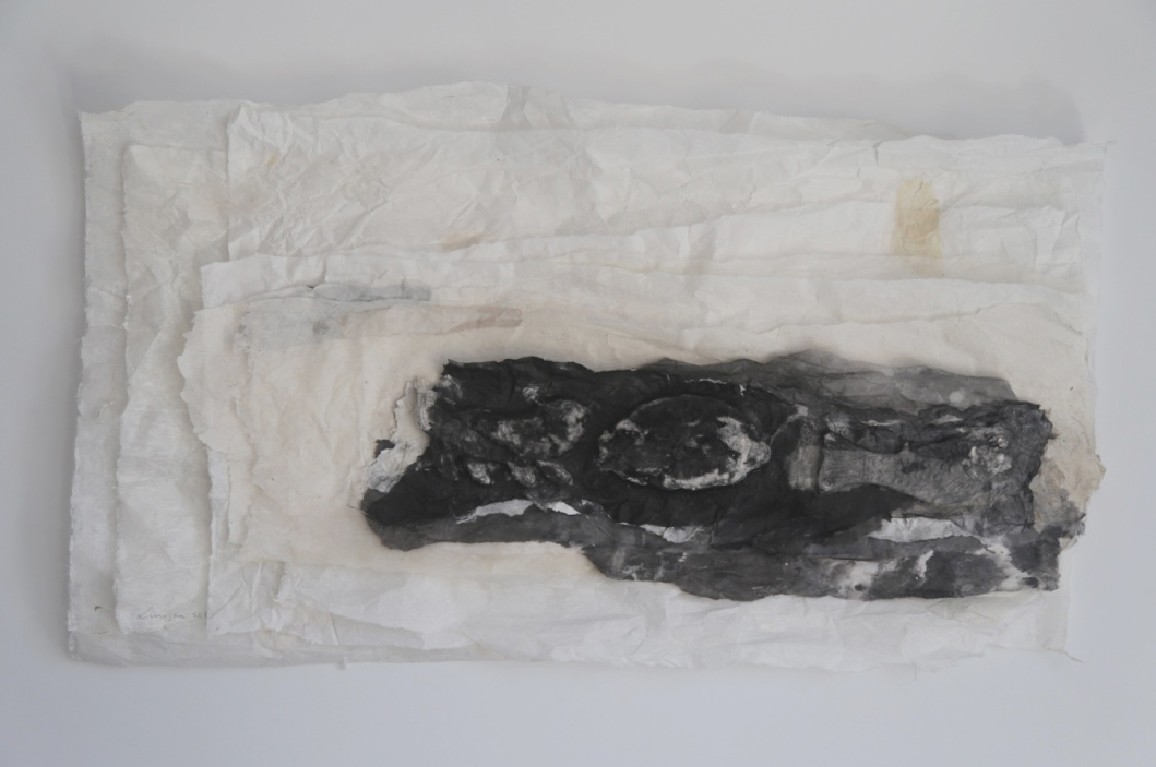 Lin Yan, Passing Through 渡过 , 2016, ink, Xuan paper, 18 x 31.5 in. (46 x 80 cm) © 2017 Lin Yan, Courtesy Fou Gallery.