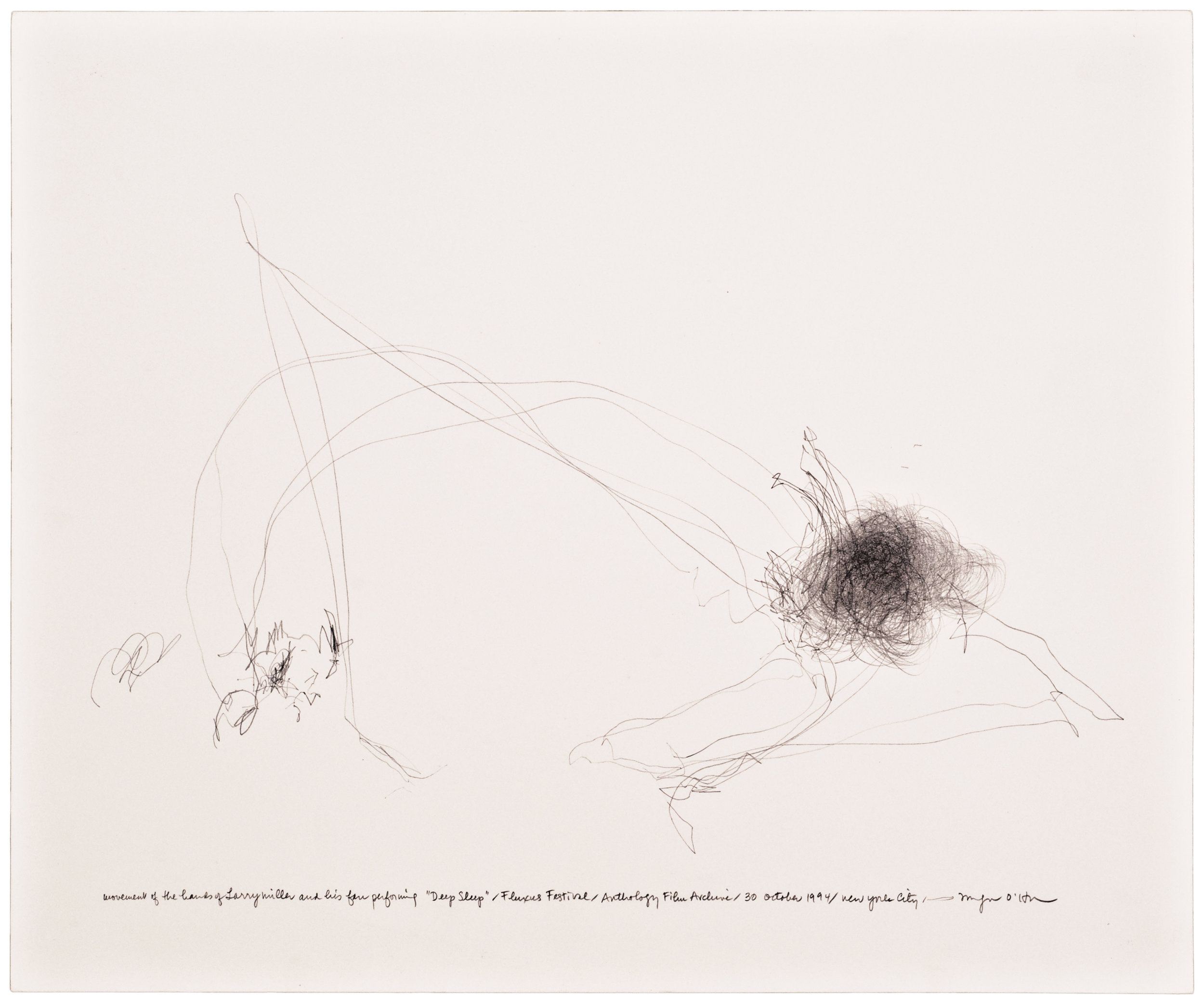 Morgan O'Hara,  LIVE TRANSMISSION: movement of the hands of LARRY MILLER and his fan performing Deep Sleep / Fluxus Festival / Anthology Film Archives / 30 October 1994 / New York City , 14 x 17 in., Graphite on paper, 1999