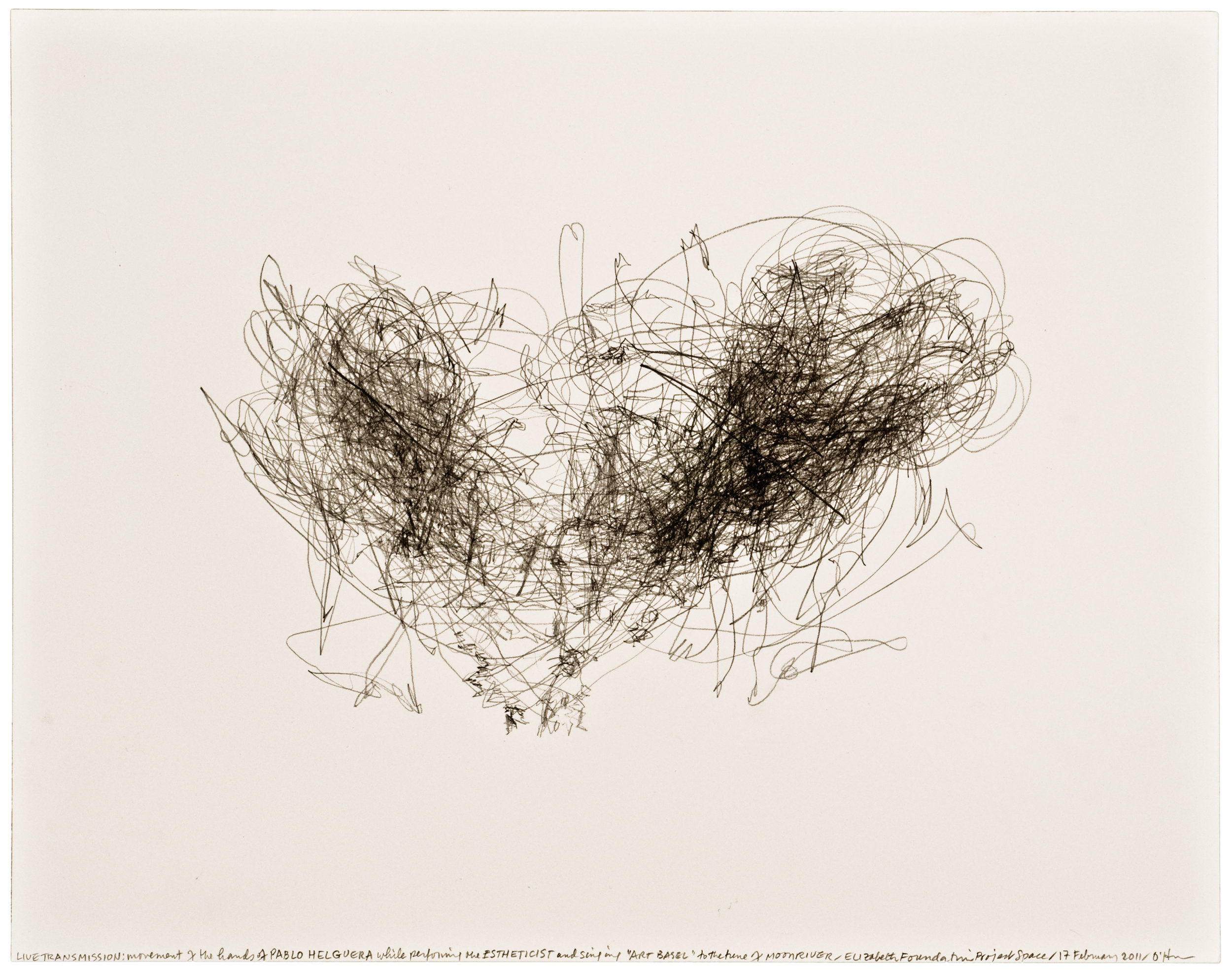 Morgan O'Hara,  LIVE TRANSMISSION: movement of the hands of PABLO HELGUERA while performing The Estheticist and singing Art Basel to the tune of Moonriver / Elizabeth Foundation for the Arts Project Space / 17 February 2011,  11 x 14 in., Graphite on paper ©2017 Morgan O'Hara, Courtesy Fou Gallery