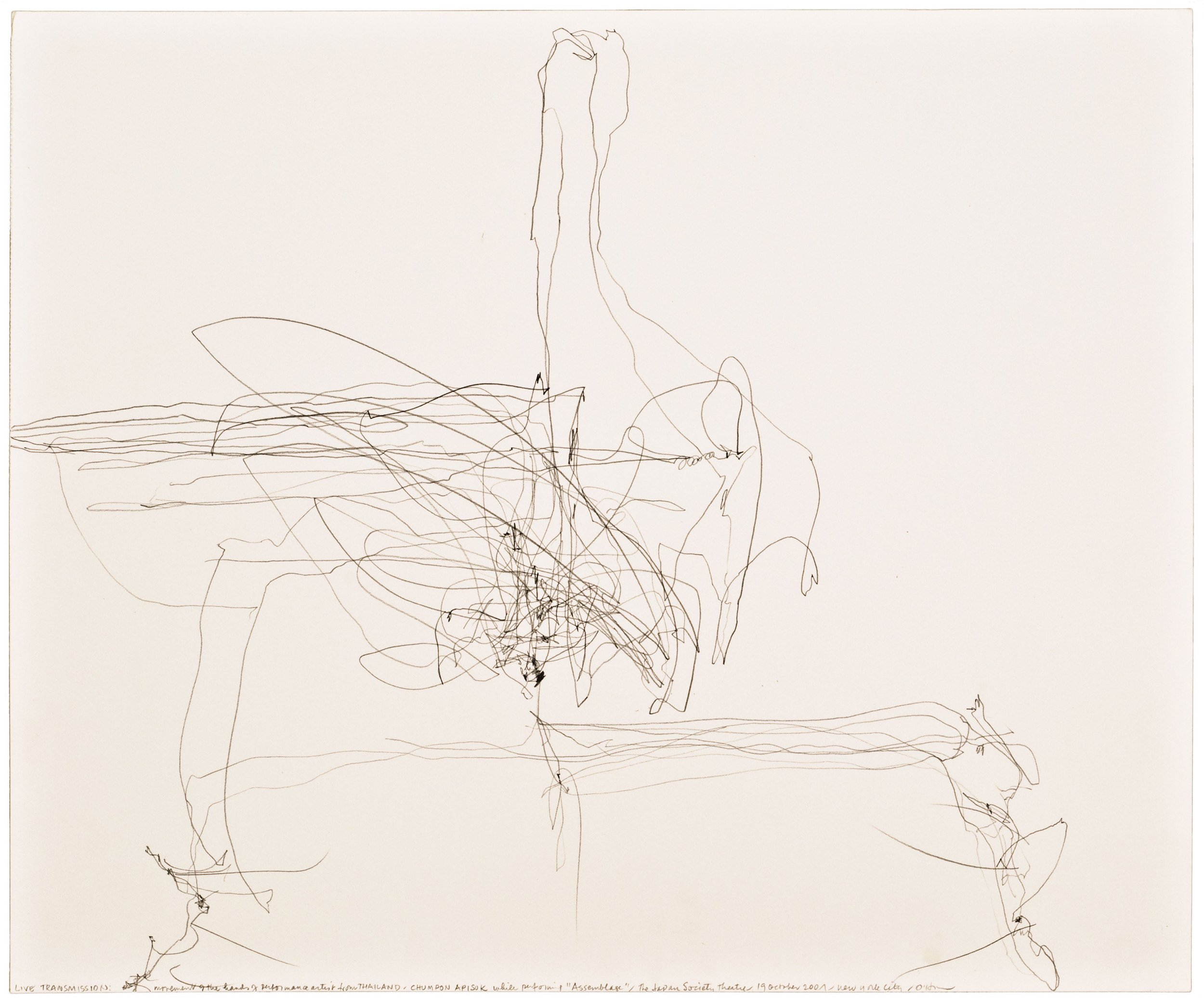 Morgan O'Hara, LIVE TRANSMISSION: movement of the hands of peformance artist from Thailand CHUMPON APISUK / while performing Assemblage/ The Japan Society Theatre / 19 October 2001/ New York City, 14 x 17 in.,Graphite on Bristol paper, 2001