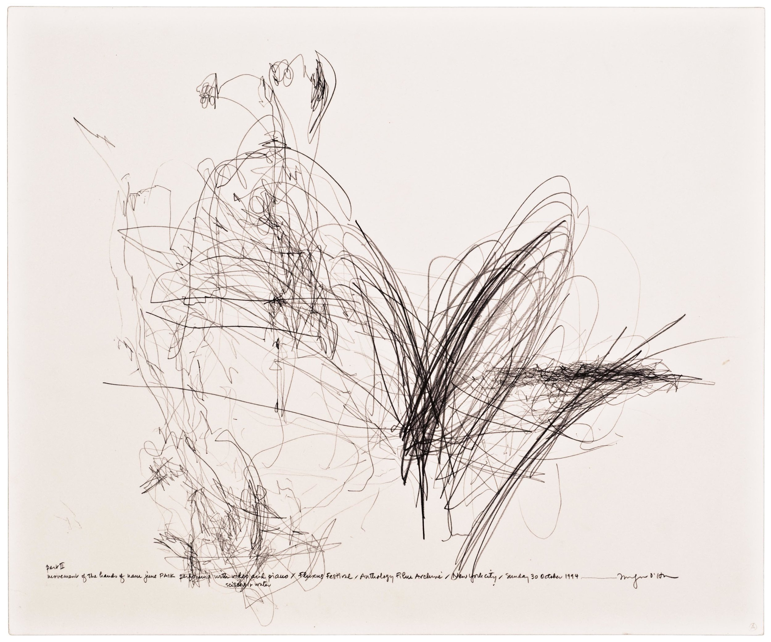 Morgan O'Hara,  LIVE TRANSMISSION: movement of the hands of NAM JUNE PAIK performing with video and piano, scissors and water, and ropes of fake pearls / Fluxus Festival / Anthology Film Archives/Sunday 30 October 1994/New York City ,14 x 17 in.,Graphite on Bristol paper, 1994