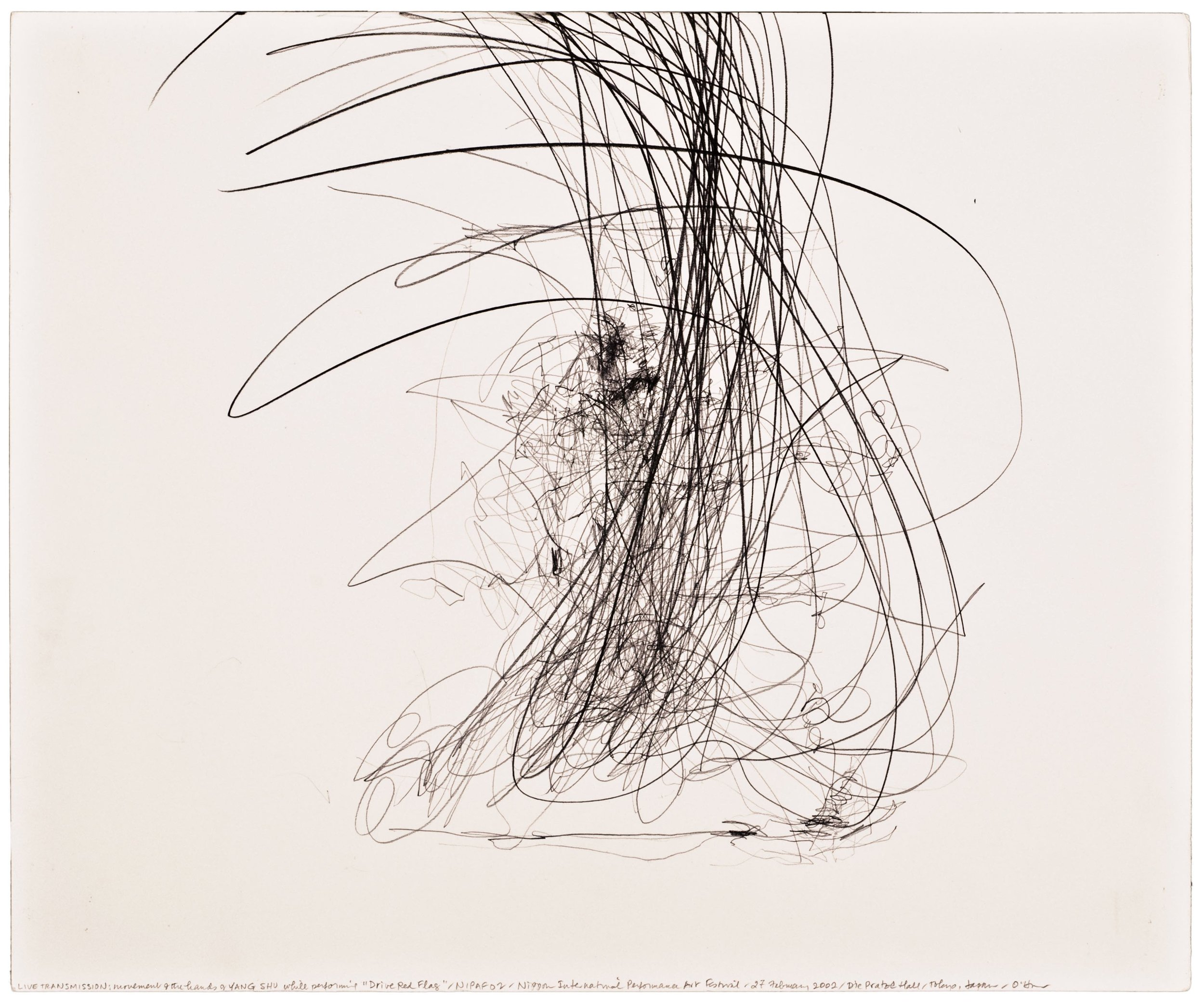 Morgan O'Hara, LIVE TRANSMISSION: movement of the hands of SHU YANG while performing Drive Red Flag /NIPAF '02 / Nippon International Performance Art Festival / Die Pratze Hall / 27 February 2002 /Tokyo, Japan, 14 x 17 in.,Graphite on Bristol paper, 2002