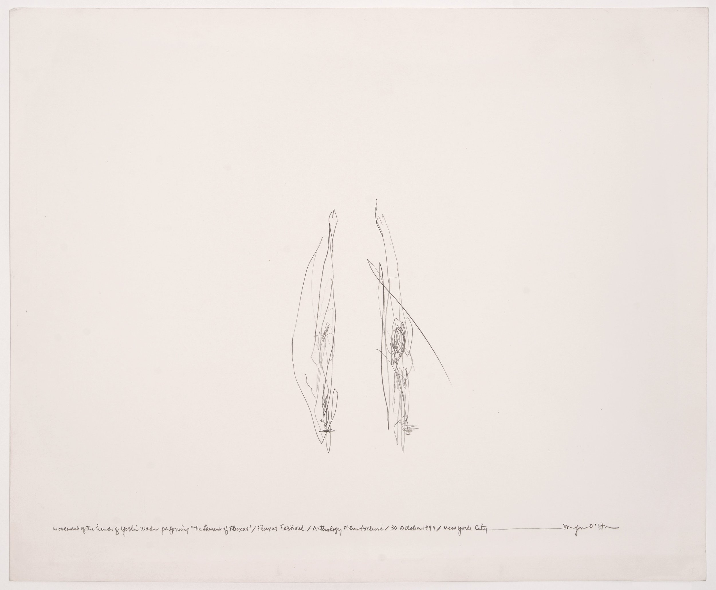Morgan O'Hara, LIVE TRANSMISSION: movement of the hands of YOSHI WADA while performing The Lament of Fluxus / Fluxus Festival / Anthology Film Archives / Sunday 30 October 1994 / New York City, 14 x 17 in.,Graphite on Bristol paper, 1994
