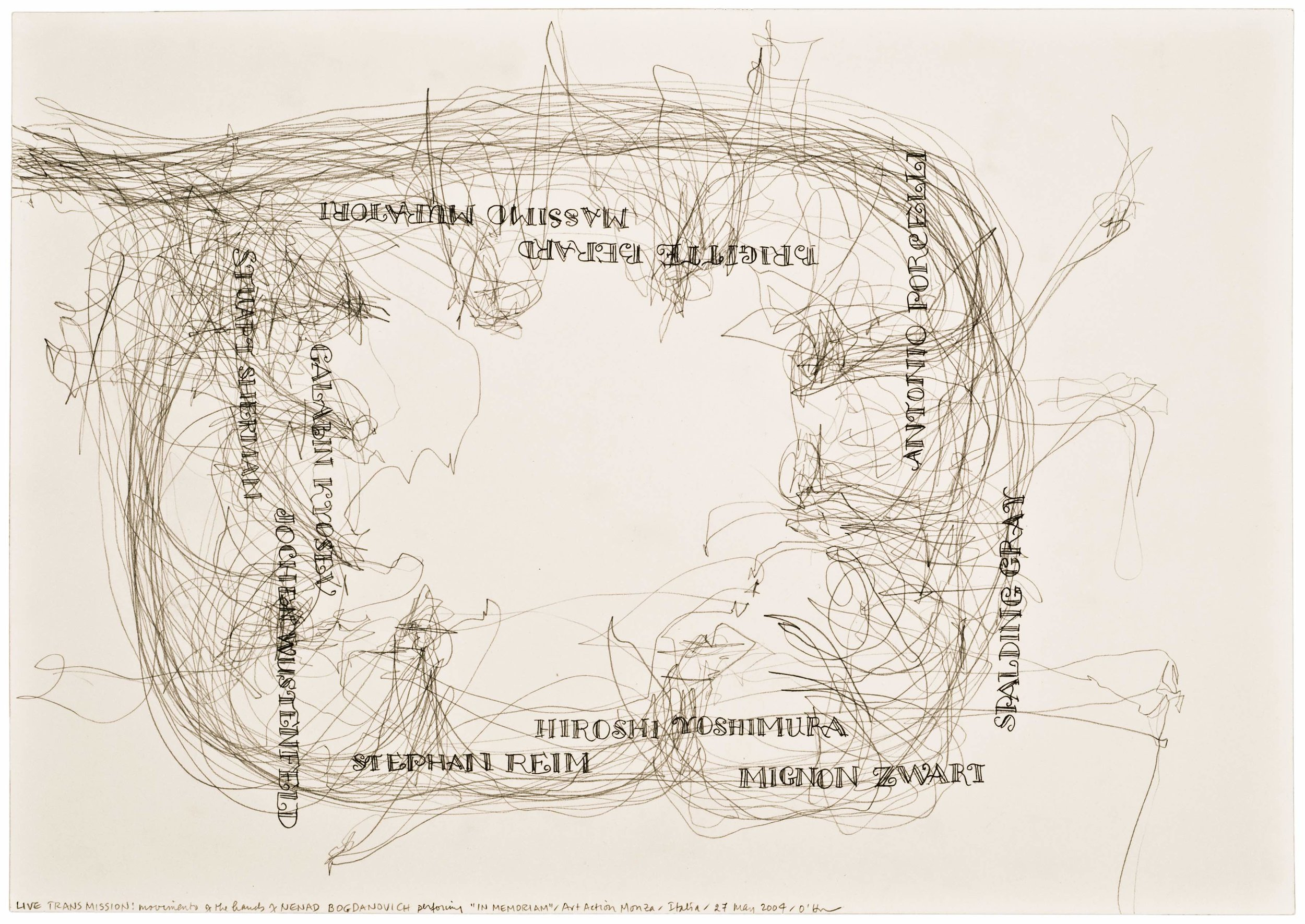 Morgan O'Hara, LIVE TRANSMISSION: movement of the hands of NENAD BOGDANOVICH performing In Memoriam / Art Action Monza / Italia / 27 May 2004 ,11.5 x 16.5 in.,Graphite on Bristol paper, 2004