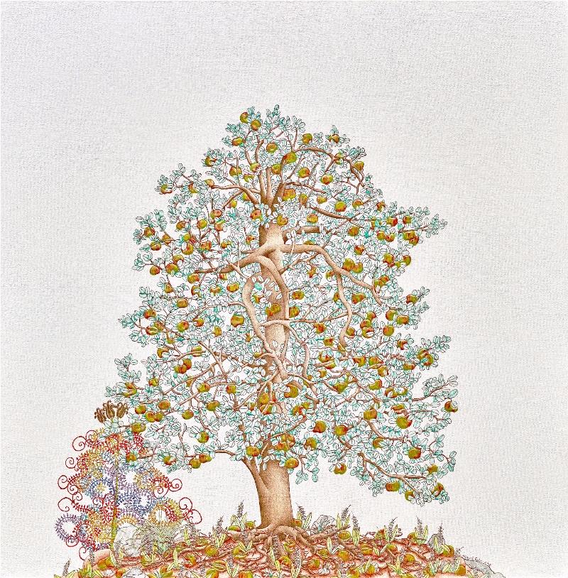 Michael Eade.  Tree of Life 生命之树, Egg tempera, raised 23k gold leaf, raised aluminum and copper leaf, oil on canvas,36 x 36 in.(91.44 x 91.44 cm),2015