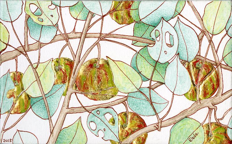 Michael Eade. Wild Apple Tree (Study), No. 30 野苹果树(小稿)30, Egg tempera, raised 22k gold leaf, oil on wood panel,4.75 x 7.5 in. (12.065 x 19.05 cm), 2015
