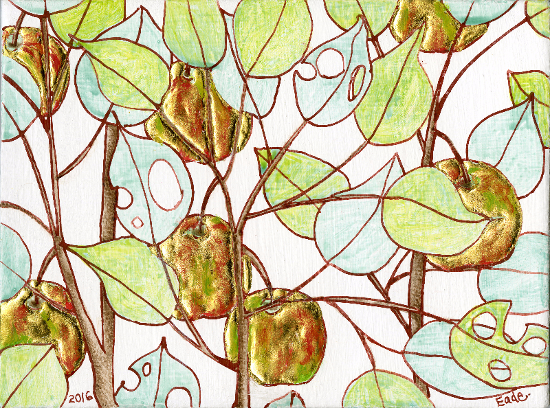 Michael Eade, Wild Apple Tree (Study), No. 33, 2016 野苹果树(小稿)33, Egg tempera, raised 22k gold leaf and oil on wood panel,4.75 x 6.25 in. (12.065 x 15.875 cm), 2016
