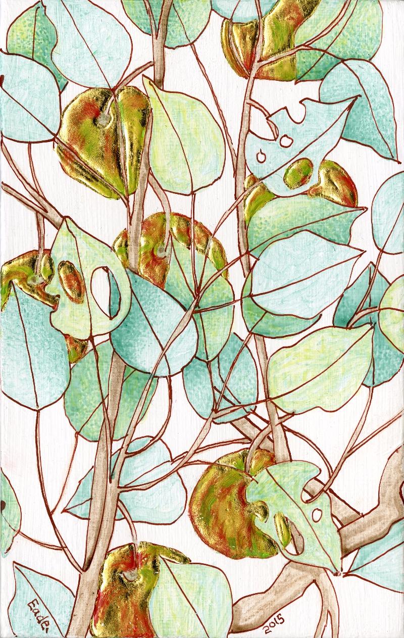 Michael Eade. Wild Apple Tree (Study), No. 26 野苹果树(小稿)26, Egg tempera, raised 22k gold leaf and oil on wood panel, 7.5 x 4.75 in. (19.05 x 12.065 cm), 2015