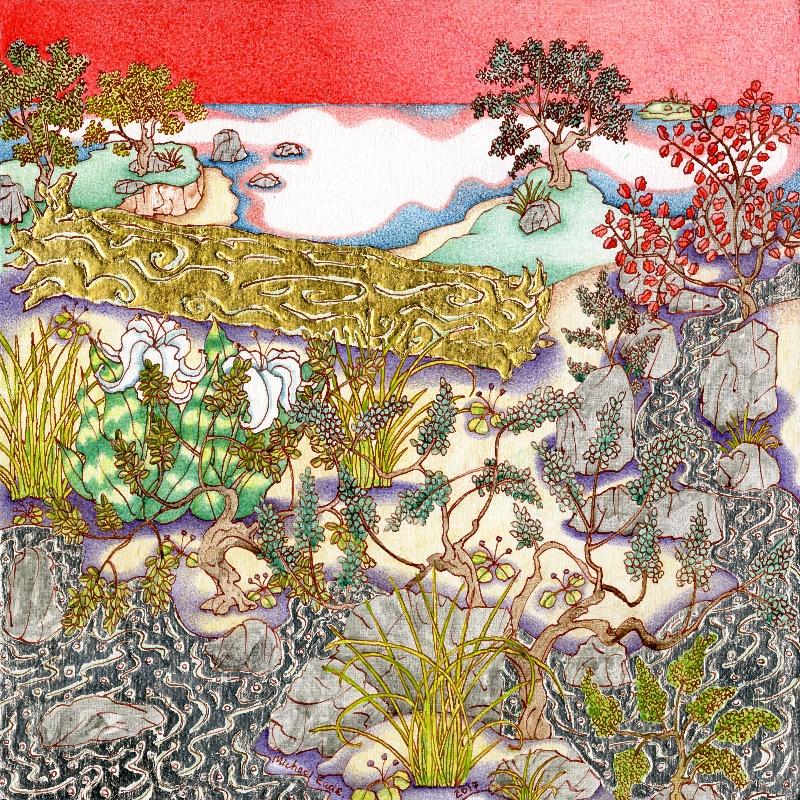 Michael Eade. Sunset and Gilded Log 日落与镀金哺木,  Egg tempera, raised 22k gold leaf, raised aluminum and copper leaf on canvas,11 x 11 in. (27.94 x 27.94 cm), 2017
