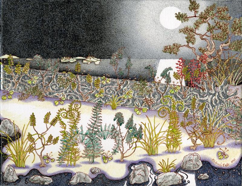 Michael Eade. Nurse Log Under Full Moon 圆月下的哺木,  Egg tempera, raised aluminum and copper leaf on canvas, 11 x 14 in. (27.94 x 35.56 cm), 2017