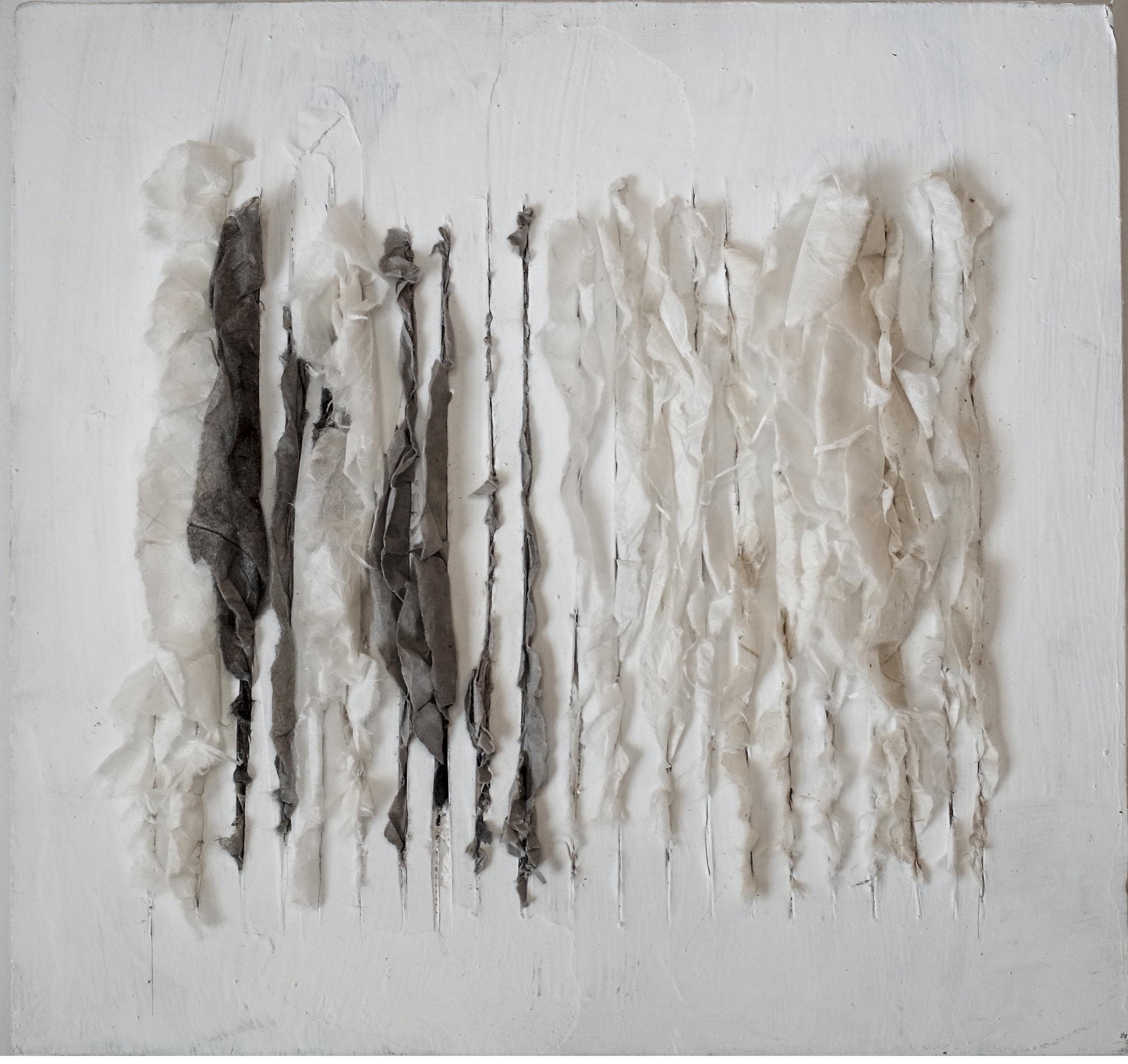 Lin Yan,  Drizzling #4 细雨4 , 12 x 12 x 2 in., Xuan paper and ink on sheetrock board, 2017. ©2017 Lin Yan, courtesy Fou Gallery.