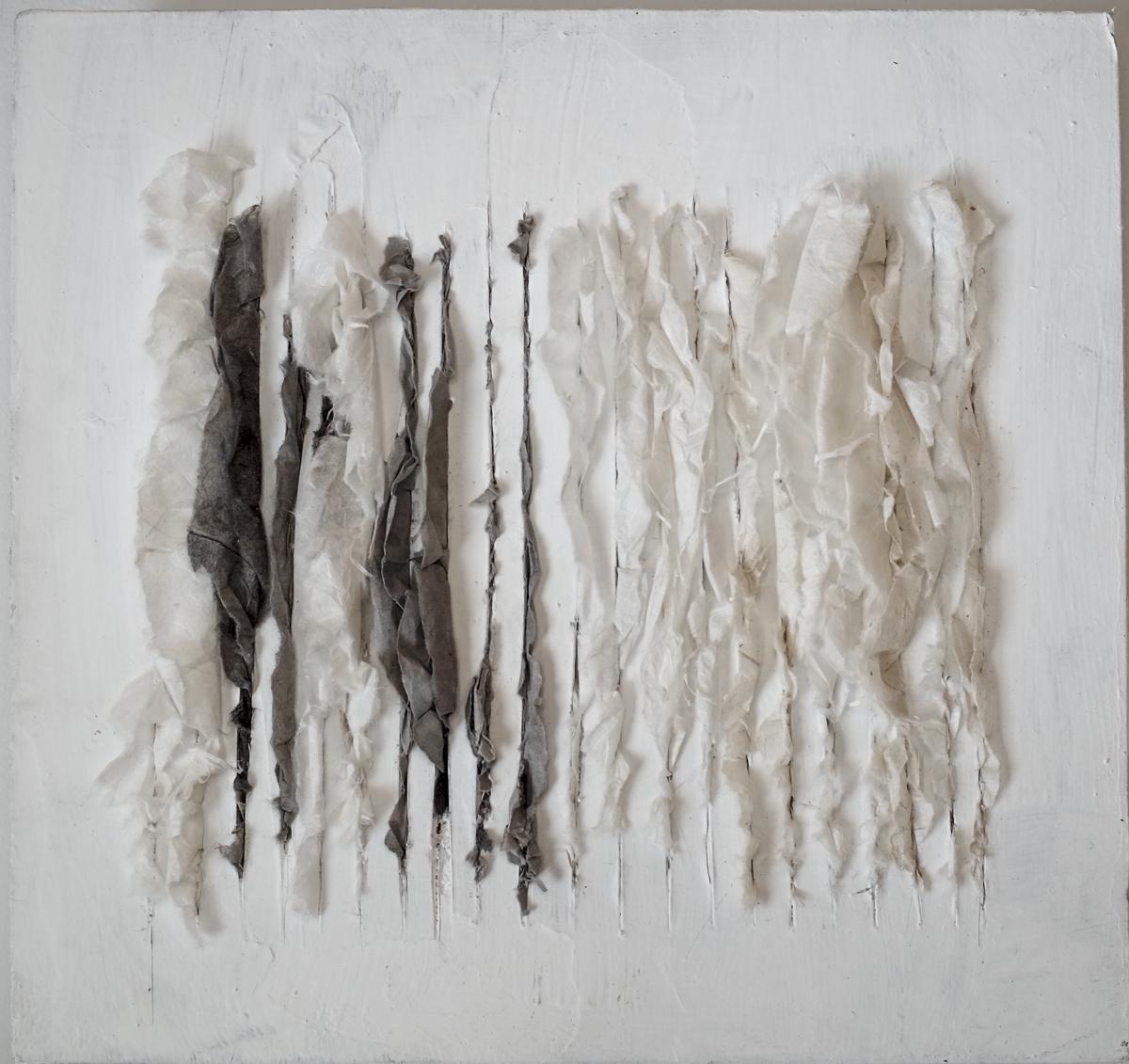 Lin Yan,  Drizzling #4,  2017. 12 x 12 x 2 in. (30.5 x 30.5 x 4cm), Xuan paper and ink on sheetrock board ©2017 Lin Yan, courtesy Fou Gallery. 林延,细雨4,2017. 30.5 x 30.5 x 4cm,石膏夹板上宣纸和墨 ©2017 林延,致谢否画廊