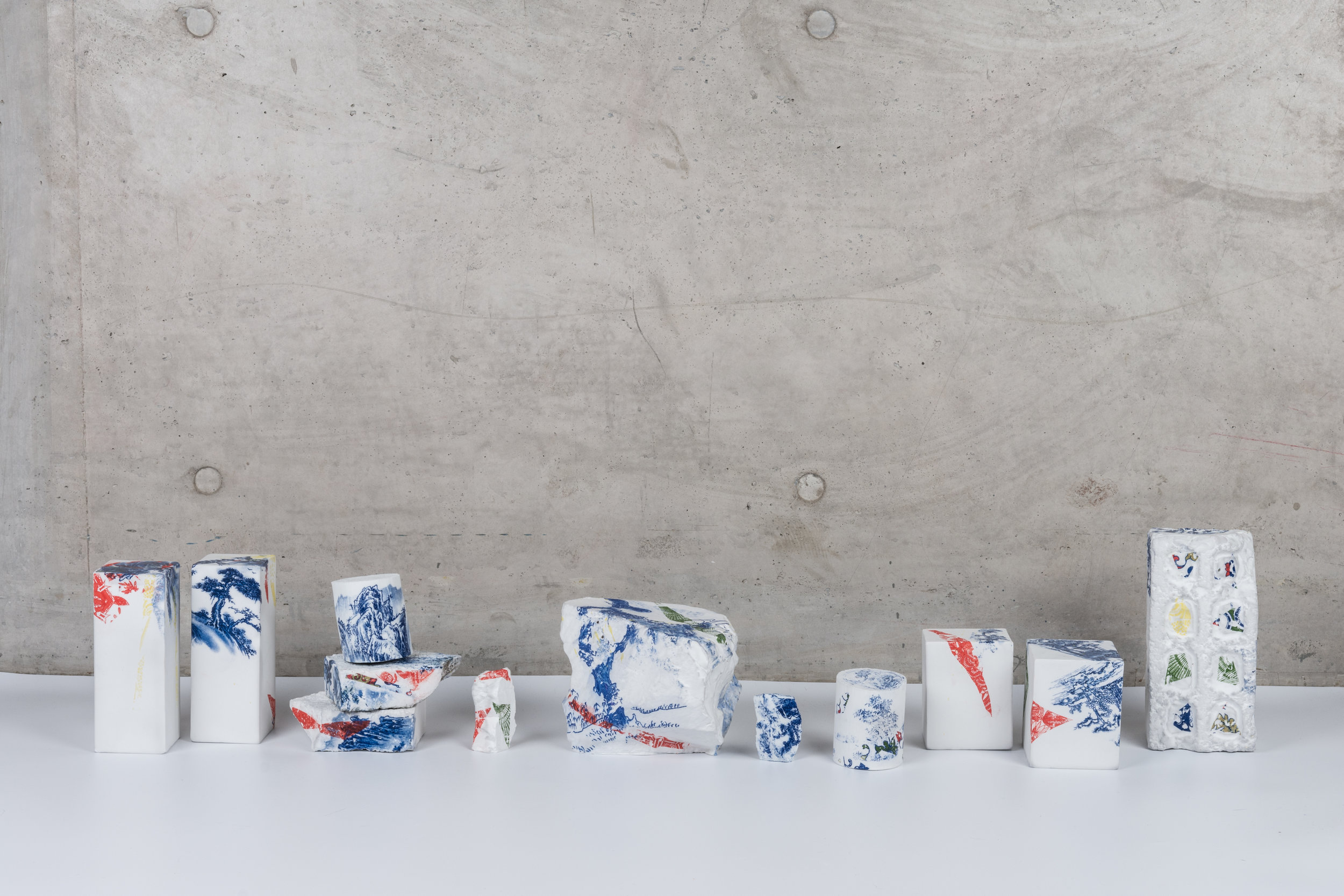 Renqian Yang,  Landscapes Deconstruct I , 2018, Porcelain, fire to 1300C, gas reduction, Various dimension, 12 pieces © Renqian Yang, courtesy Fou Gallery