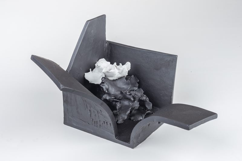 Renqian Yang,  Space Deconstruction 4 , 2018, Porcelain, fire to 1300C, gas reduction, 13.4 x 7.9 x 5.9 inch © Renqian Yang, courtesy Fou Gallery