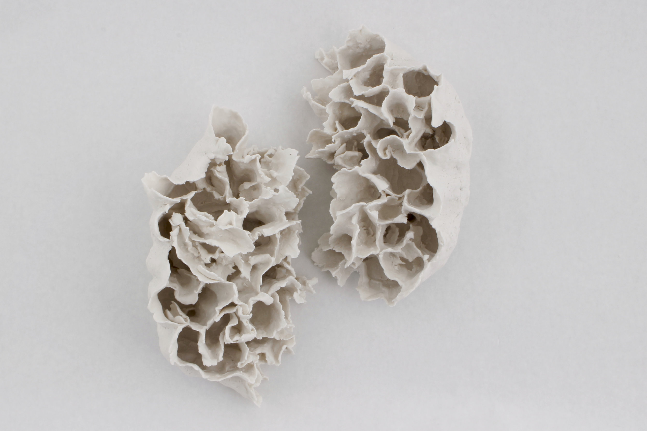 Renqian Yang , Clustered Light , 2018. Paper clay, fire to cone 6, electric kiln, 11 x 7 x 5 inches each ©Renqian Yang, courtesy Fou Gallery.