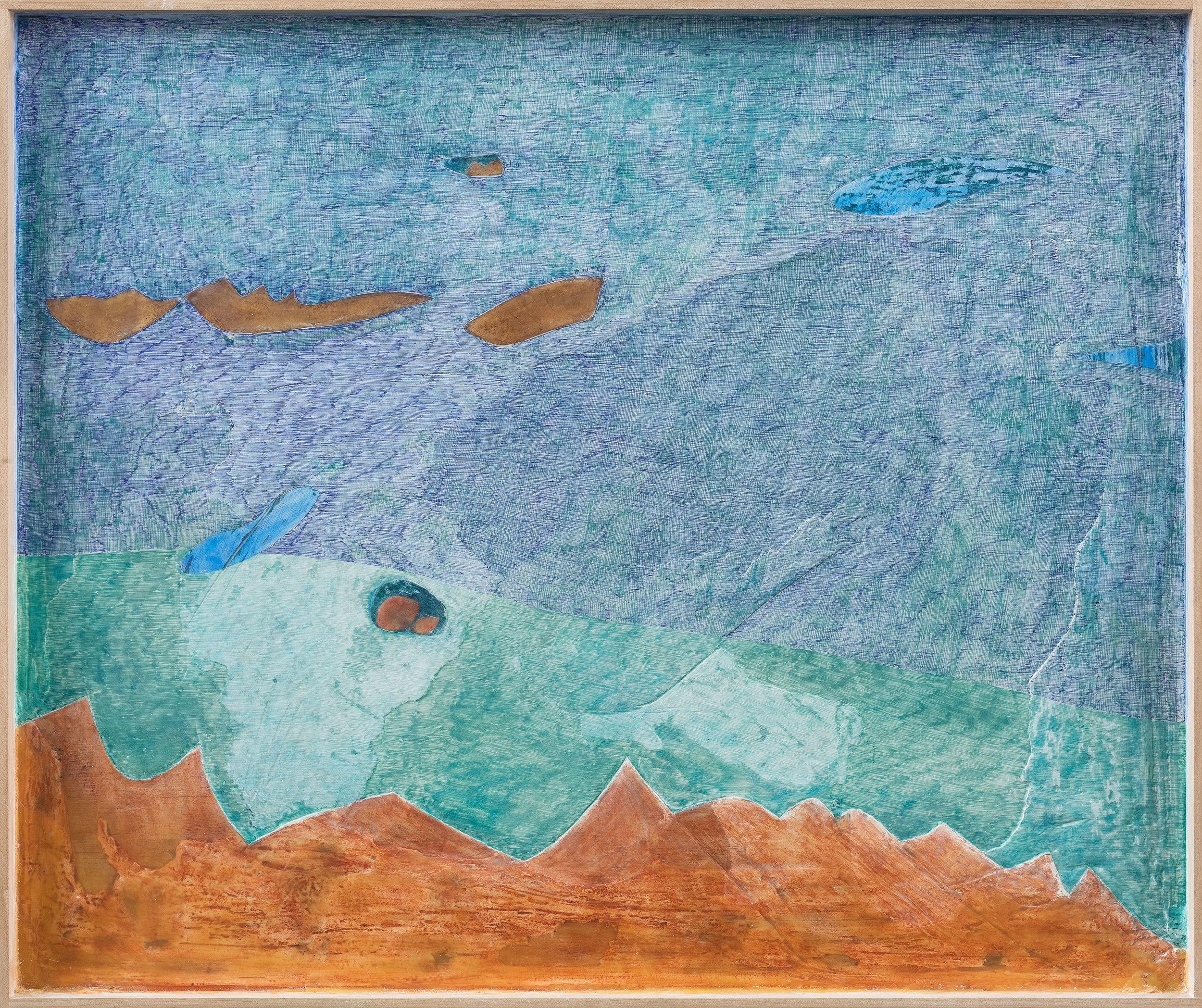 Lan Zhaoxing,  The Ocean , 2018. Plaster, beeswax, acrylic, watercolor, ballpoint pen, 19.6 x 23.6 inch © Lan Zhaoxing, courtesy Fou Gallery