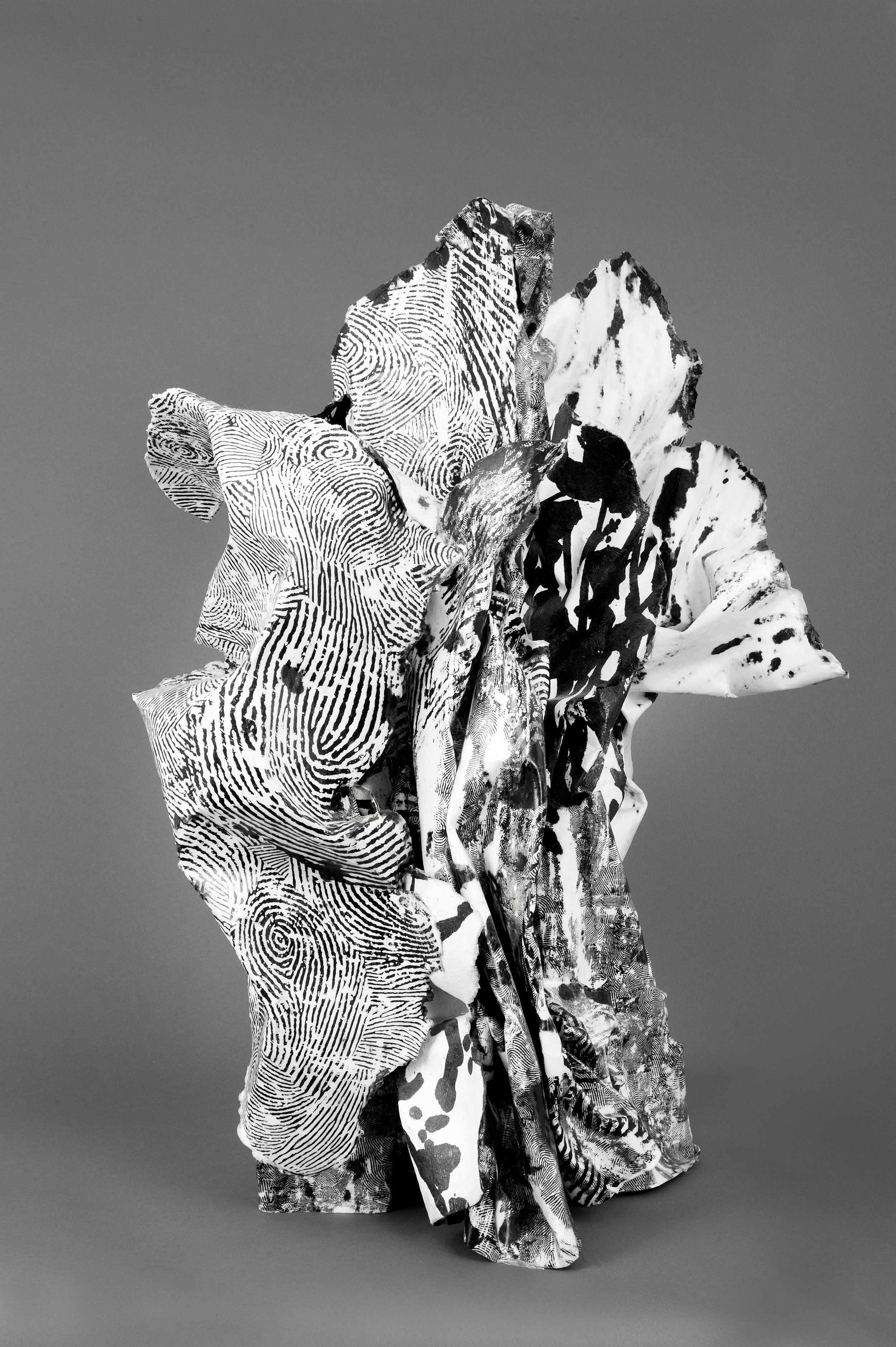 Hilda Shen,  RockStrata , 2003. Paper, Ink, wax, wood, 14 x 18 x 25 inches ©Hilda Shen, courtesy Fou Gallery