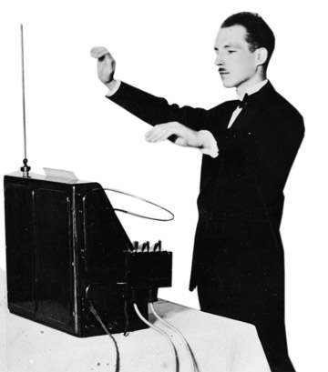 Theremin inventor Léon Termen playing the instrument, the 1920s