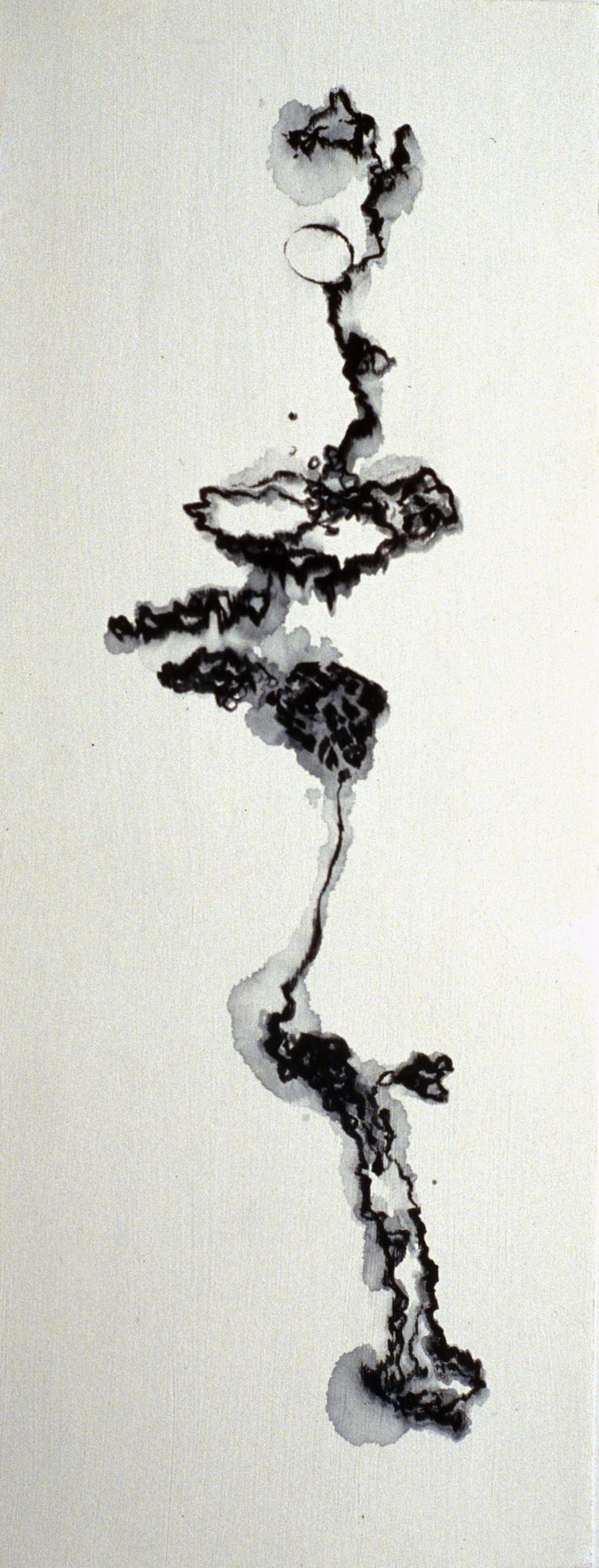 Hilda Shen,  One-line Landscape II , 2000. Pencil on paper, 16 ½ x 6 ¾ inches, ©Hilda Shen, courtesy of Fou Gallery