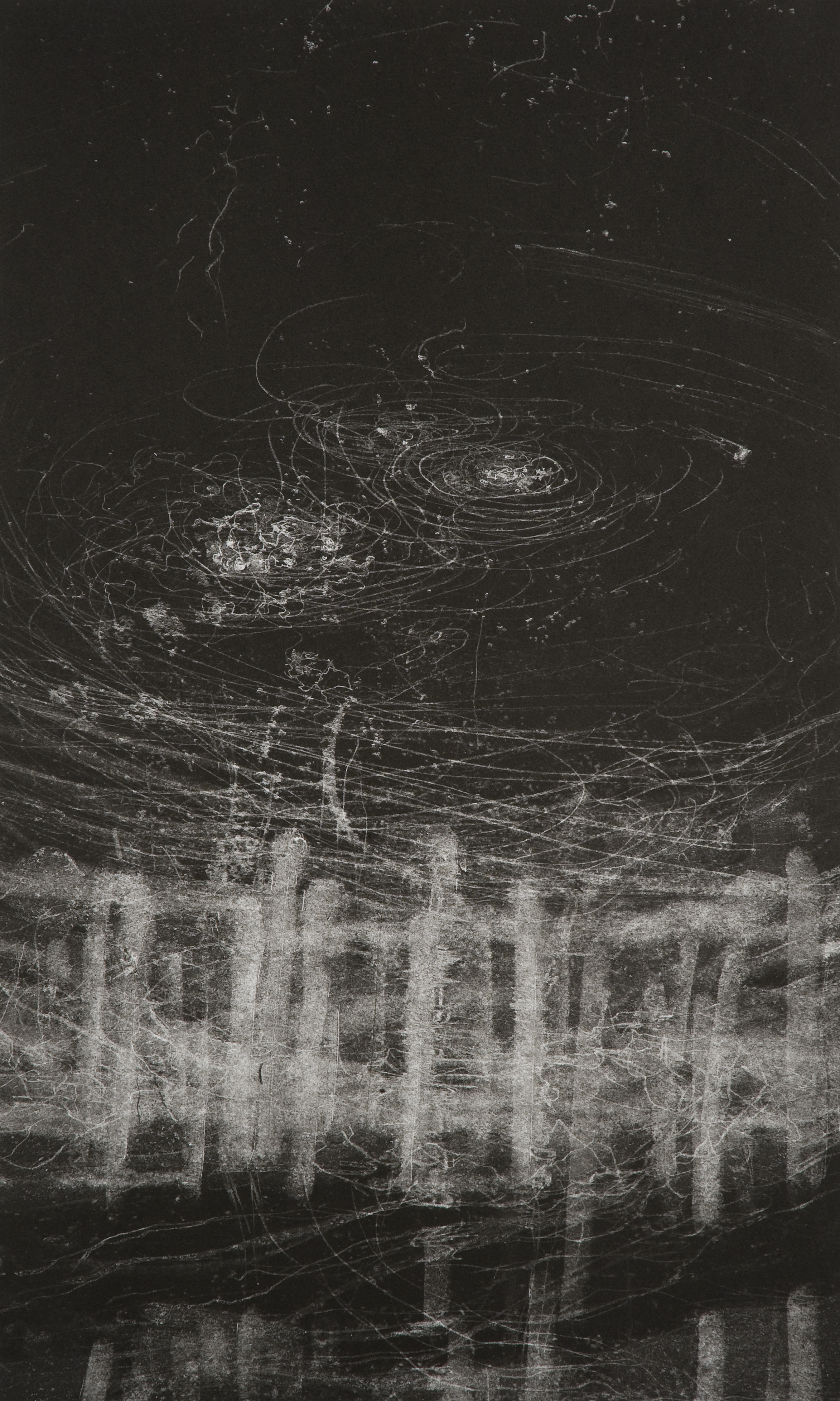 Hilda Shen,  Illumined Triptych (middle) , 2010. Set of 3 unique monotypes, 15 x 25 inches, ©Hilda Shen, courtesy of Fou Gallery