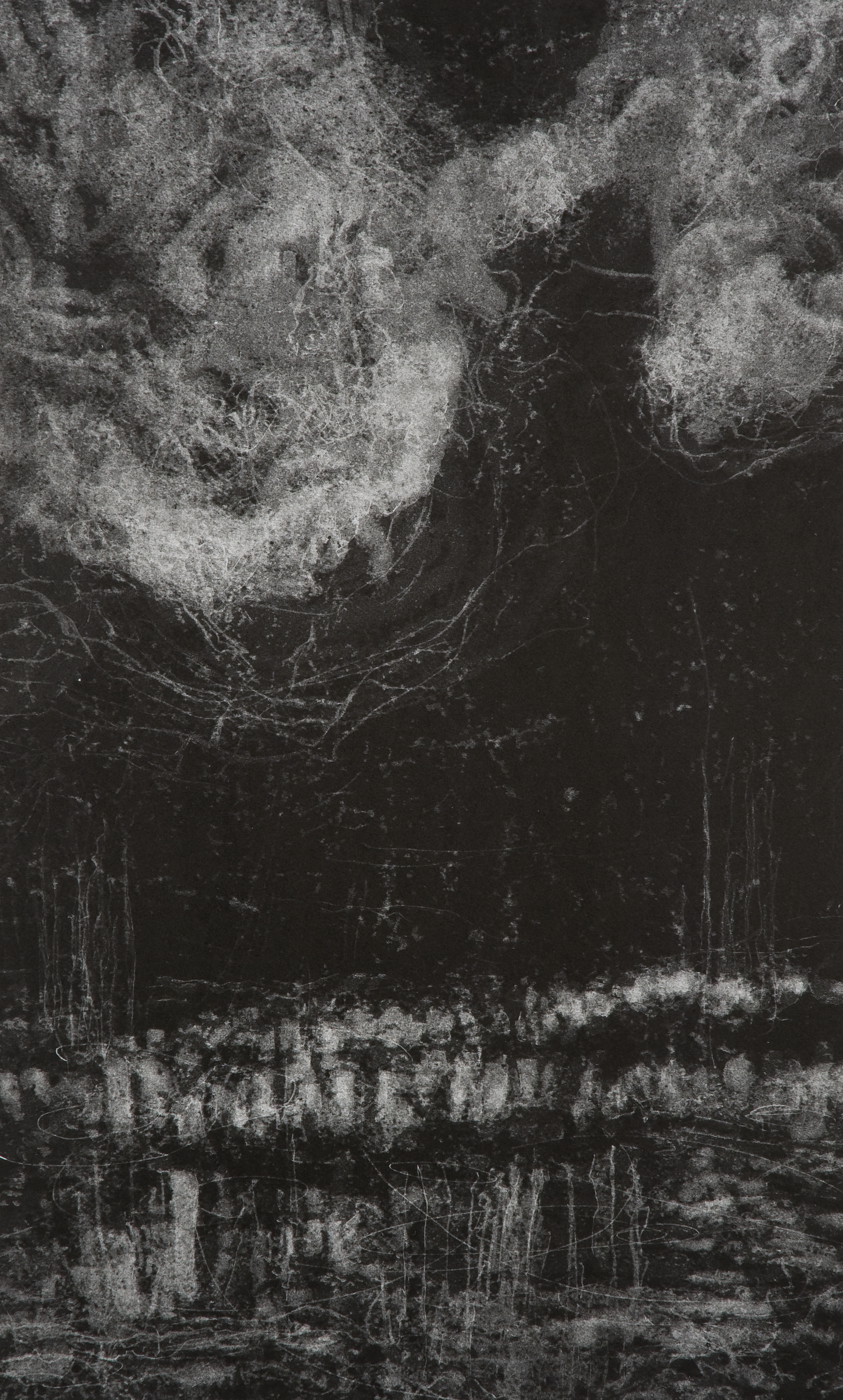 Hilda Shen,  Illumined Triptych (left),  2010. Set of 3 unique monotypes, 15 x 25 inches, ©Hilda Shen, courtesy of Fou Gallery