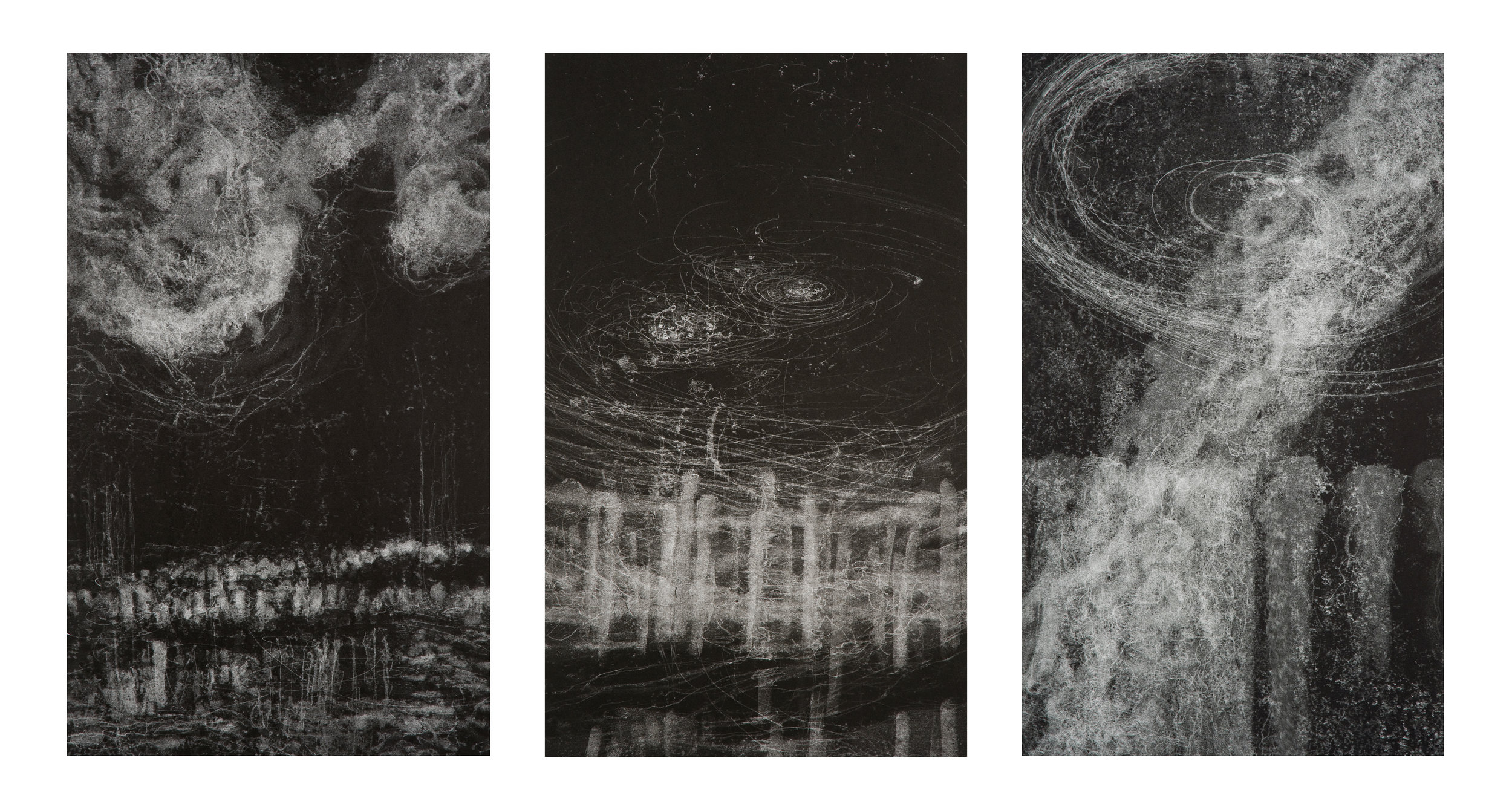 Hilda Shen, Illumined Triptych, 2010. Set of 3 unique monotypes, 15 x 25 inches each, not including frame, ©Hilda Shen, courtesy of Fou Gallery