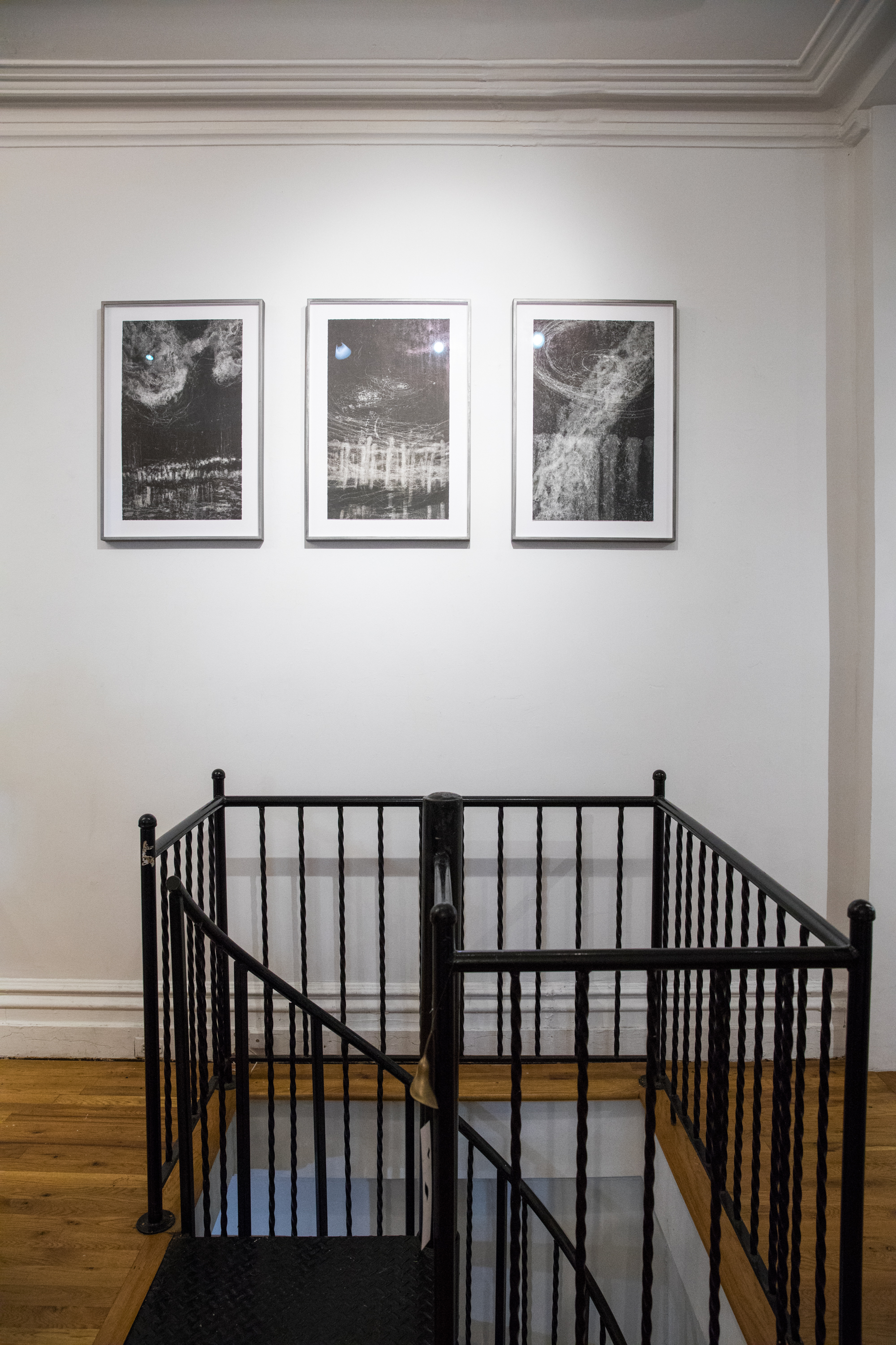Hilda Shen,  Illumined Triptych , 2010. Set of 3 unique monotypes, 15 x 25 inches each, not including frame, ©Hilda Shen, courtesy of Fou Gallery