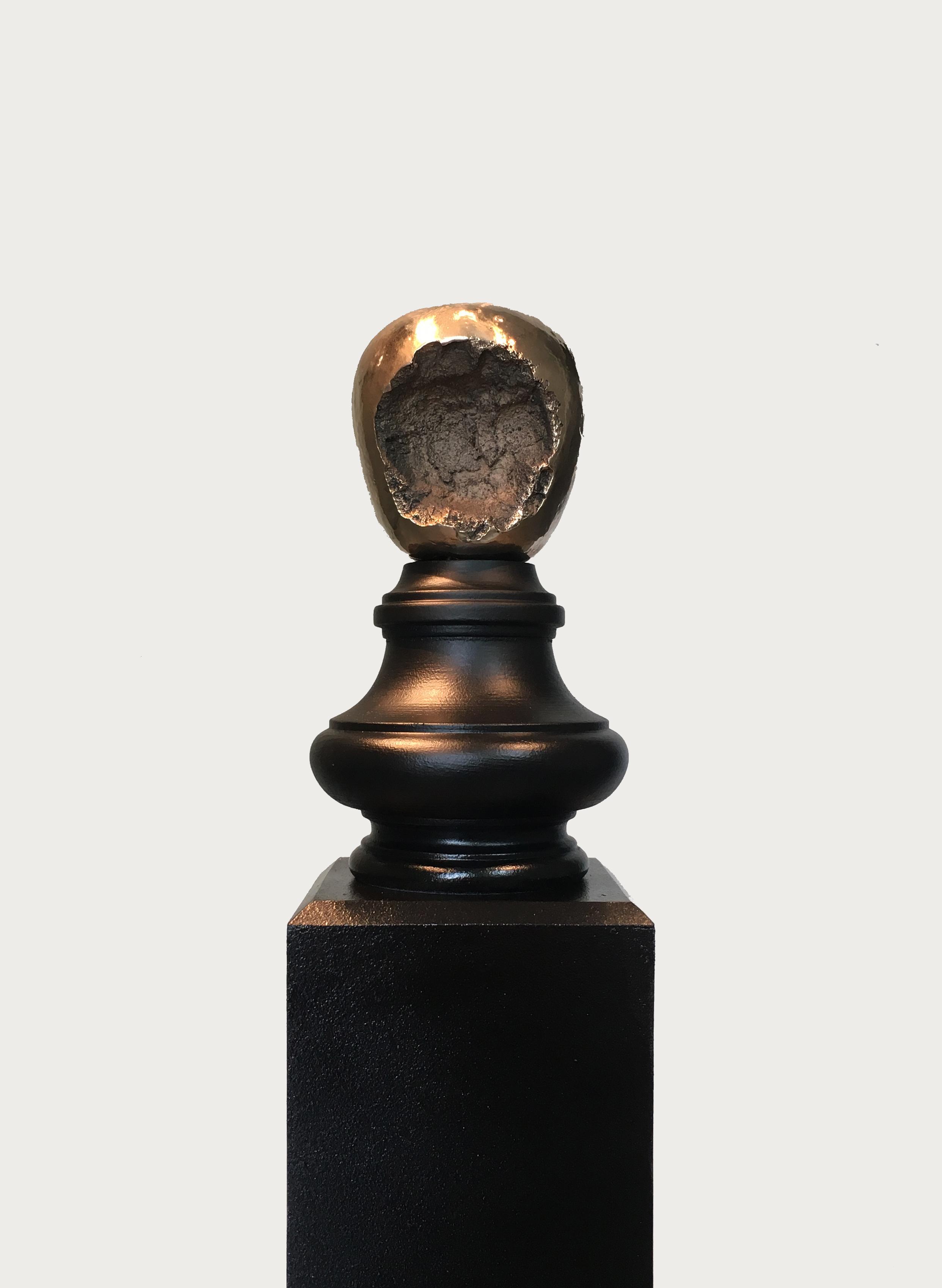 Siyuan Tan,  It Began to Rot Around the Wound , 2018. Copper, wood, 4 x 4 x 3 inch; Base: 45 x 4 x 4 inch ©Siyuan Tan, courtesy Fou Gallery