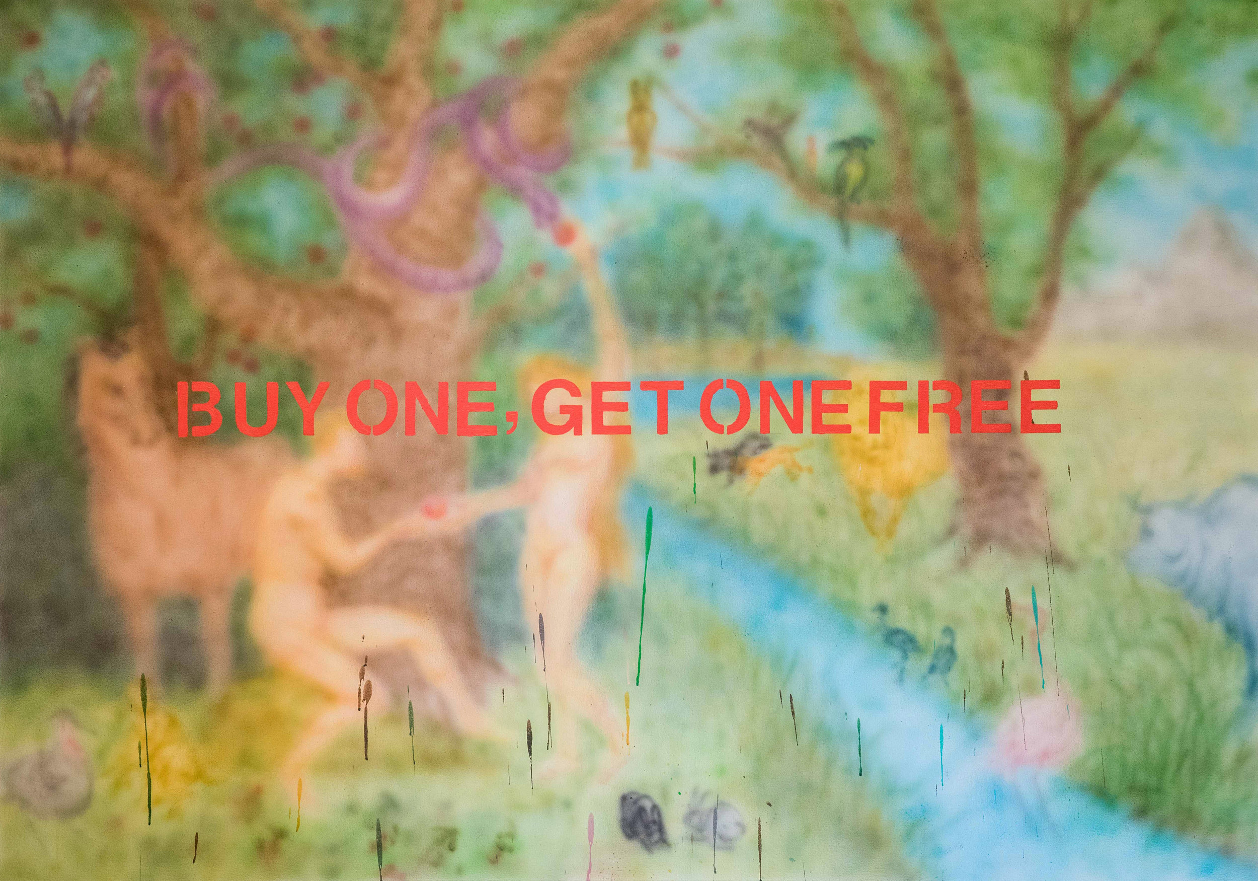 Siyuan Tan,  Buy One Get One Free,  2019. Spray paint and acrylic on canvas, 70 x 50 inch ©Siyuan Tan, courtesy Fou Gallery