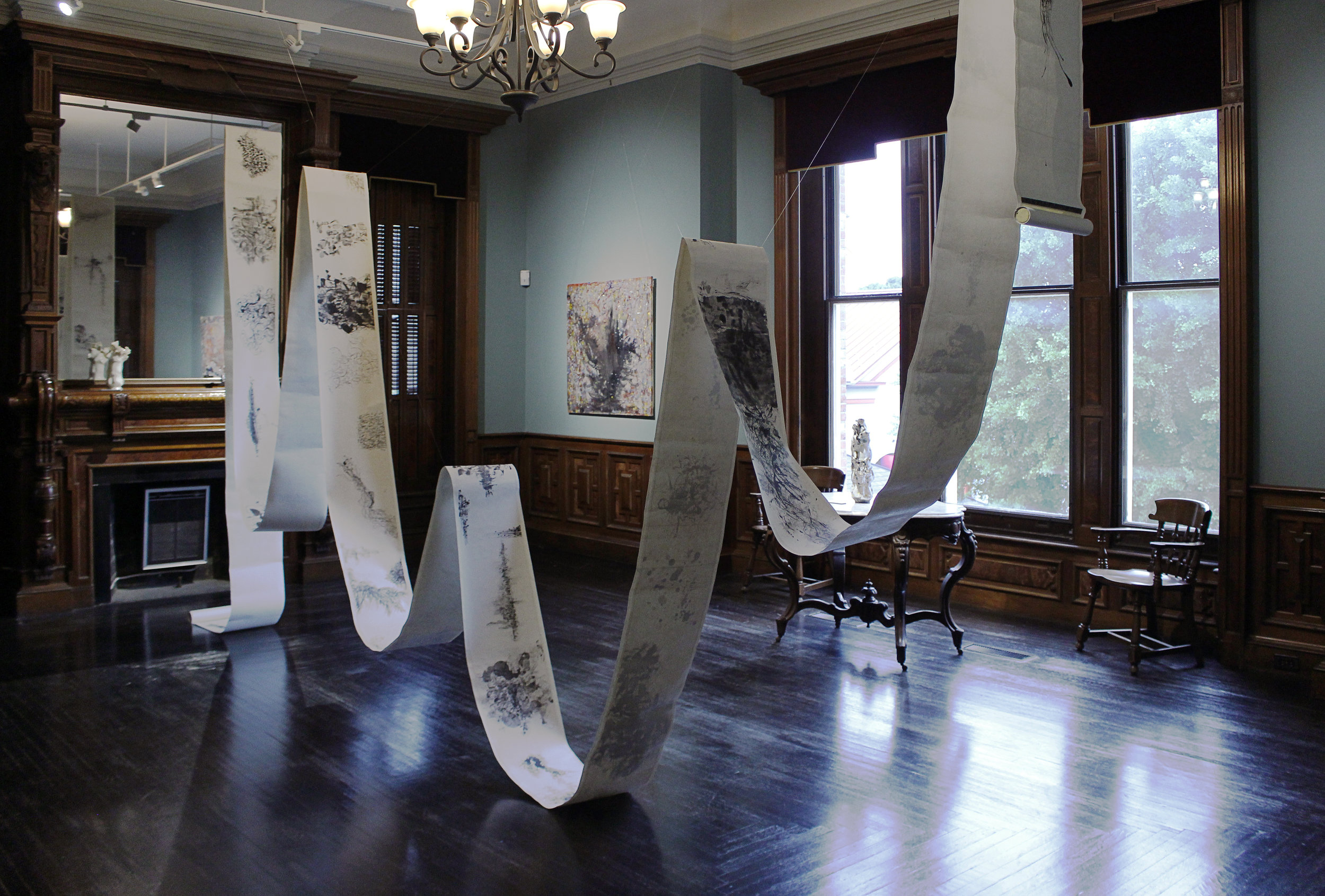 Renqian Yang Solo Exhibition at the Cayuga Museum of History and Art  installation view. Photograph by Siyuan Tan, Edited by Yuan Fang. ©Renqian Yang, courtesy Cayuga Museum of History and Art and Fou Gallery.
