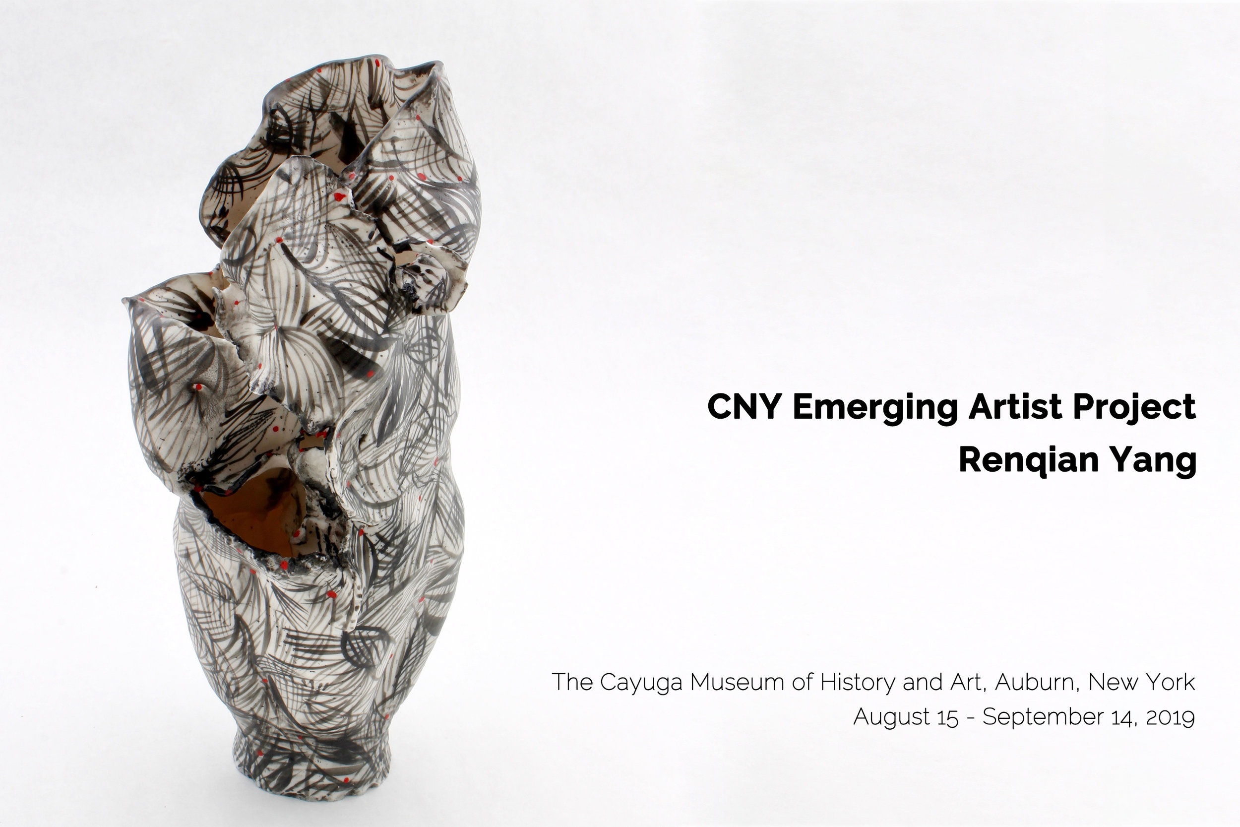 Renqian Yang's Solo Exhibition at Cayuga Museum of History and Art    Exhibition Time : August 15-September 14, 2019   Location : Cayuga Museum of History and Art, 203 Genesee St, Auburn, New York.