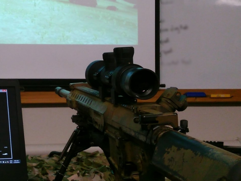 AVS Dedicated Marksman / Sniper Simulated Optic fitted to an operational weapon