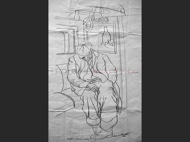 Study of Man Sleeping in Subway