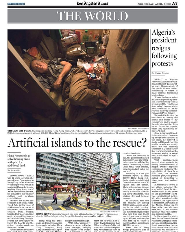 Latest for @latimes from Hong Kong, where 20% of the population lives below the poverty line in the world's most expensive housing market. Private housing is too expensive for most people, but there isn't enough public housing either. The government says the solution is more land, and recently decided to spend $80 billion on an artificial island in the sea to make more of it. Critics say the real problem is housing policy that favors developers over public need, driving up prices while reducing the supply of affordable homes. Some also say the decision to pour money into giant infrastructure projects over more environmentally safe, cost-effective options is linked with Beijing's interests.  Read more: https://www.latimes.com/world/la-fg-hong-kong-housing-island-20190403-story.html