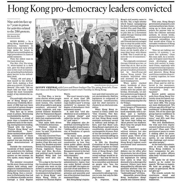 "A dispatch for the @latimes from Hong Kong's courts yesterday, where nine leaders of the 2014 Umbrella Movement were convicted for public nuisance. One of them, a 75-year-old pastor who once helped Chinese dissidents escape to Hong Kong after the Tiananmen Square massacre, preached to the court from behind a glass barrier in the defendants' dock. He and two other defendants co-founded ""Occupy Central with Love and Peace,"" a civil disobedience campaign modeled after Martin Luther King, Jr's non-violent tactics. In a 200-plus page judgement from the court, the judge said their tactics were ""unrealistic"" and ""naive."" All nine could face up to seven years of prison. Read more: https://www.latimes.com/world/la-fg-hong-kong-democracy-occupy-umbrella-verdict-pastor-20190409-story.html"