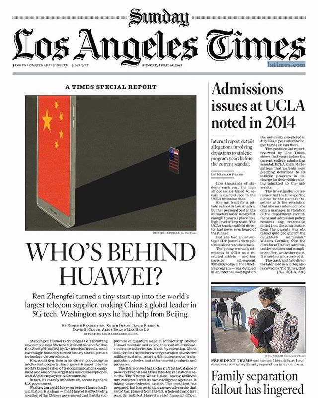 This came out in print on Sunday, our @latimes deep dive - reported from Shenzhen, Hong Kong, Beijing, DC and LA - on everything you want to know about #Huawei. The digital version also has an animated header with Ren Zhengfei standing in front of raining 🇨🇳, 📱, and 💵 emojis. 🤷🏻♀️ Check it out: https://www.latimes.com/projects/la-fi-tn-huawei-5g-trade-war/