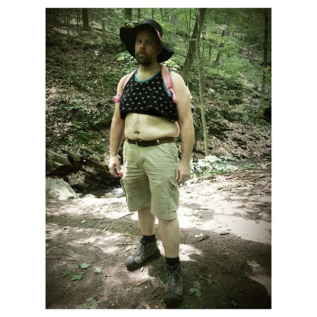 Hiking the trails of Wisconsin... Part of my expansive series on dudes #hiking in #manzierres & #sunbonnets in #ParfreysGlen (near #Baraboo #Wisconsin & #DevilsLakeStatePark)