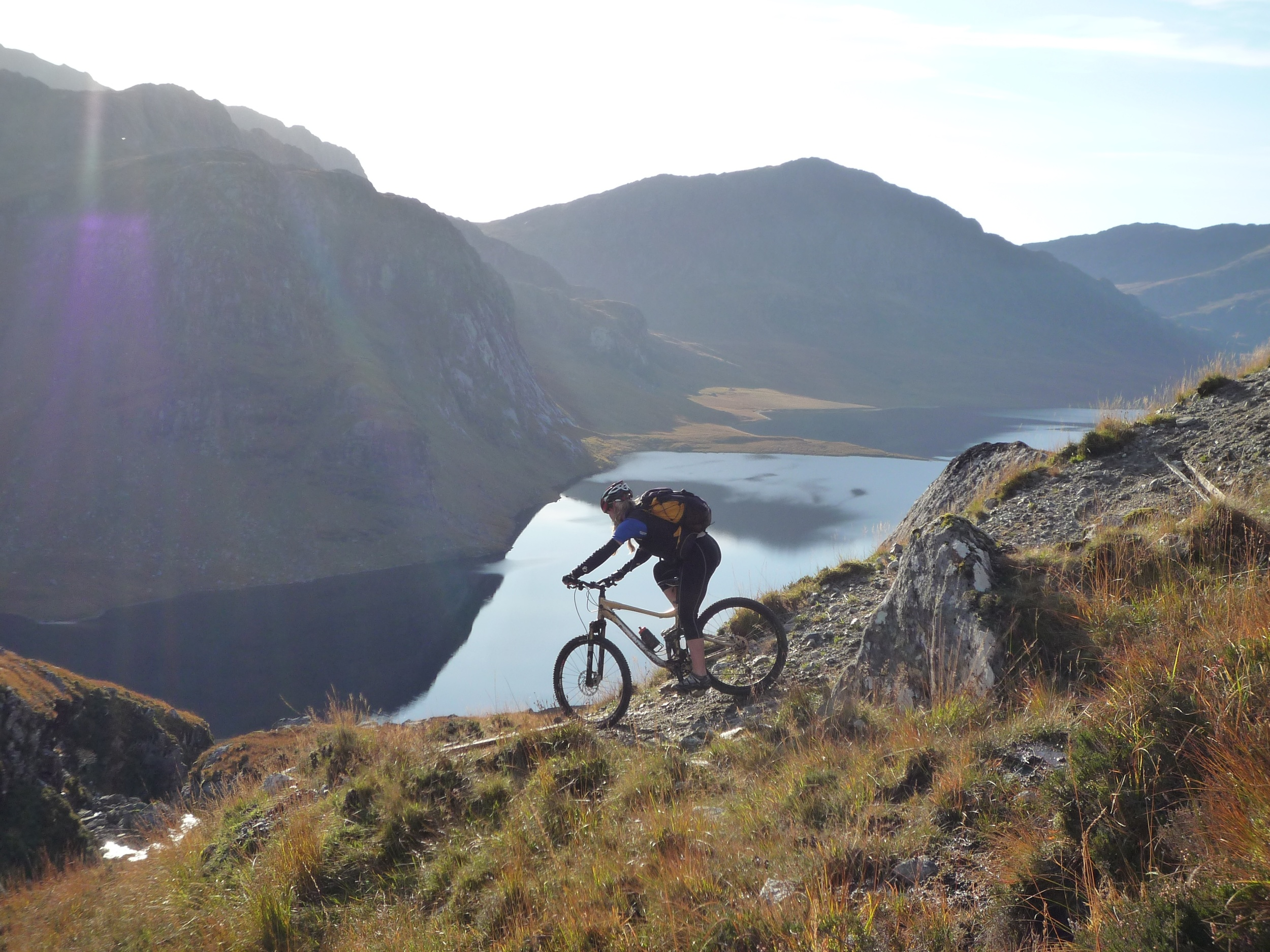 That tight switchback turn on another day, on a different bike and in another life. Photo courtesy of Ferga Perry